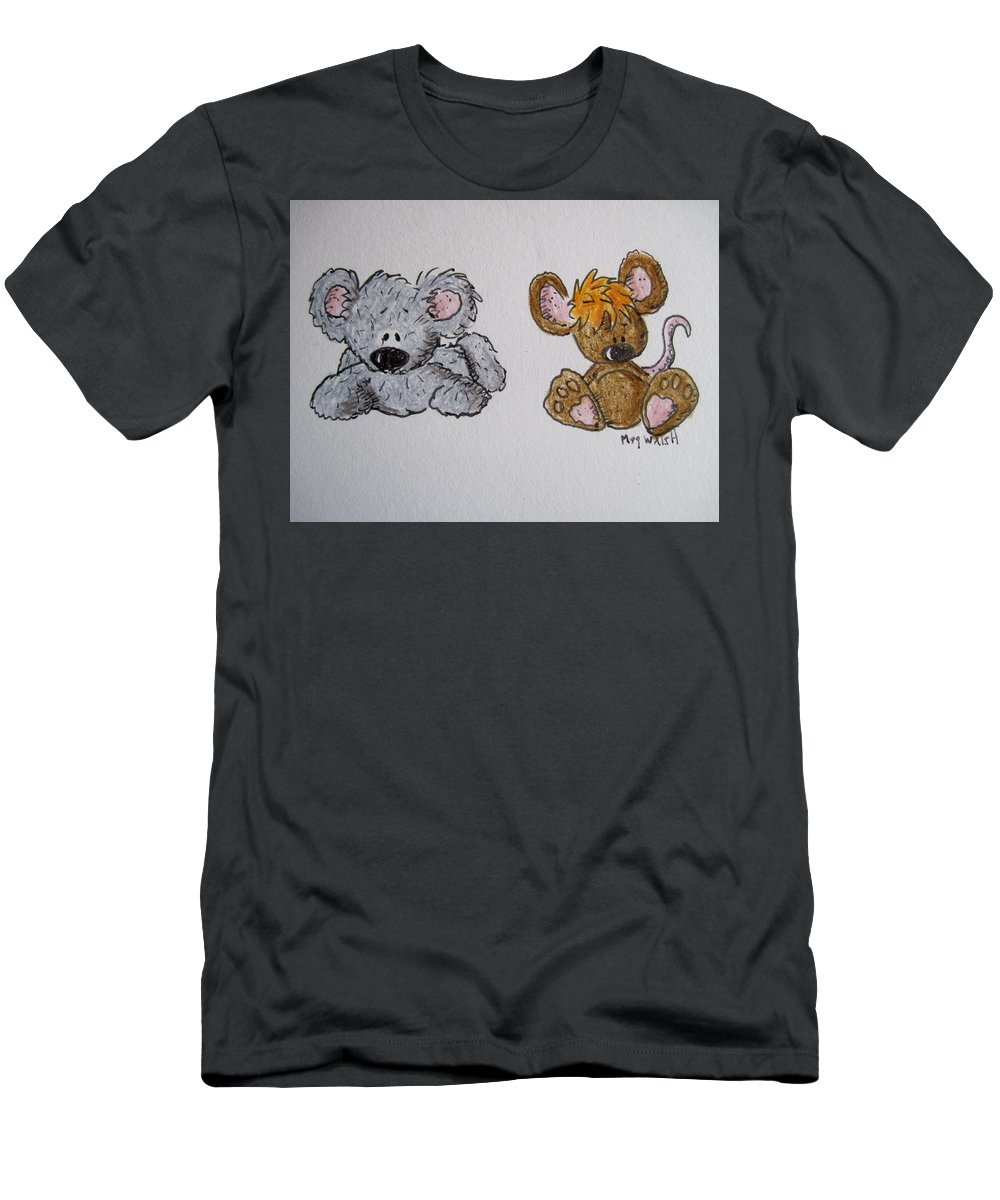 Mice Men's T-Shirt (Athletic Fit) featuring the drawing Friends 2 by Megan Walsh