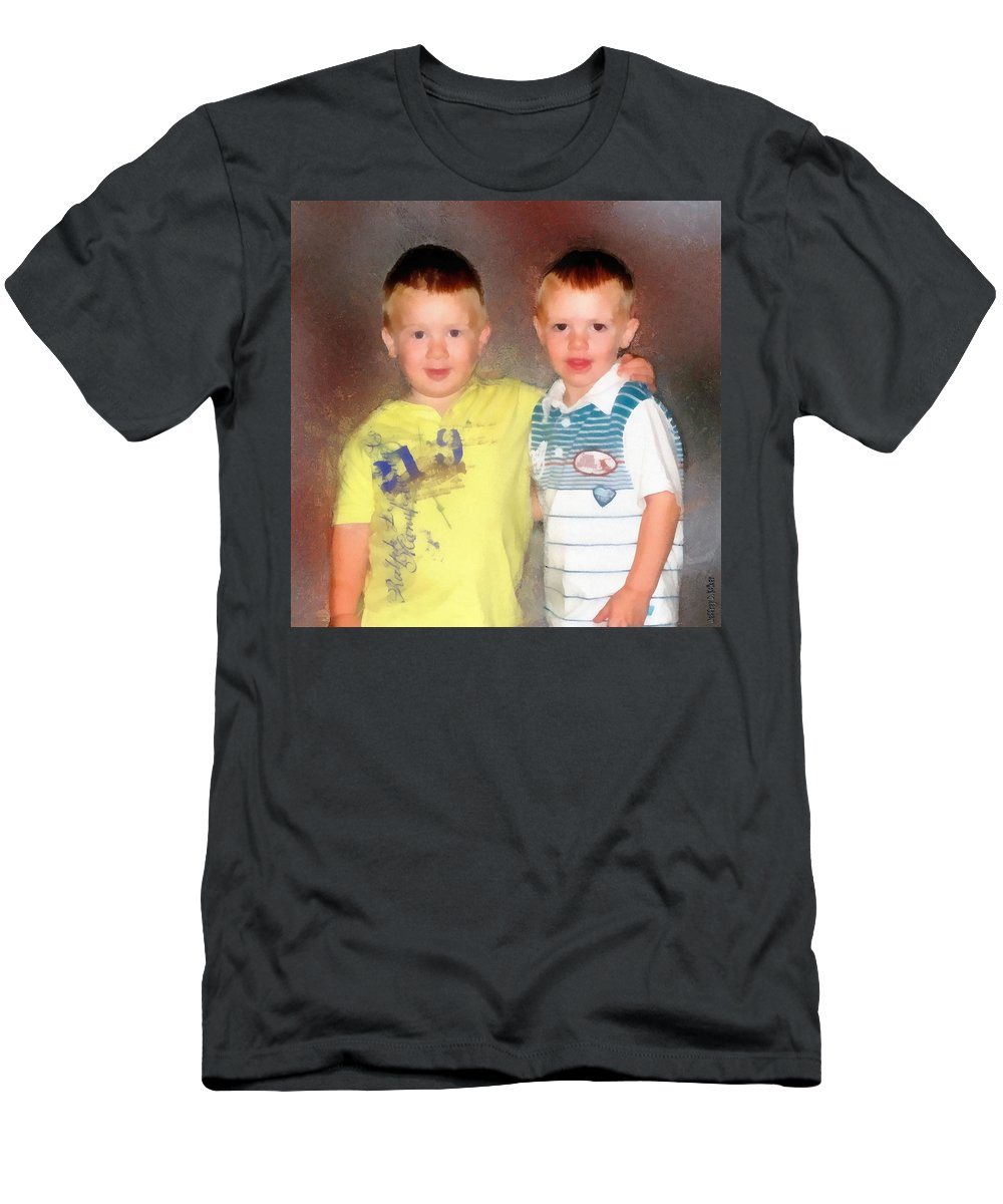Friends Men's T-Shirt (Athletic Fit) featuring the painting Friends by Jeffrey Kolker