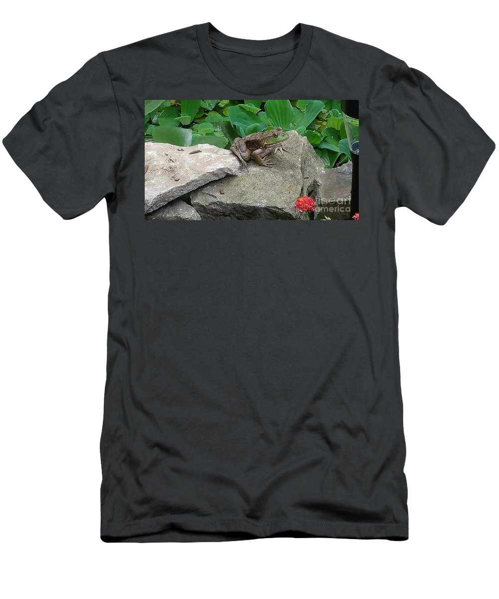 Frog Men's T-Shirt (Athletic Fit) featuring the photograph Frog On A Rock by Leslie Gatson-Mudd