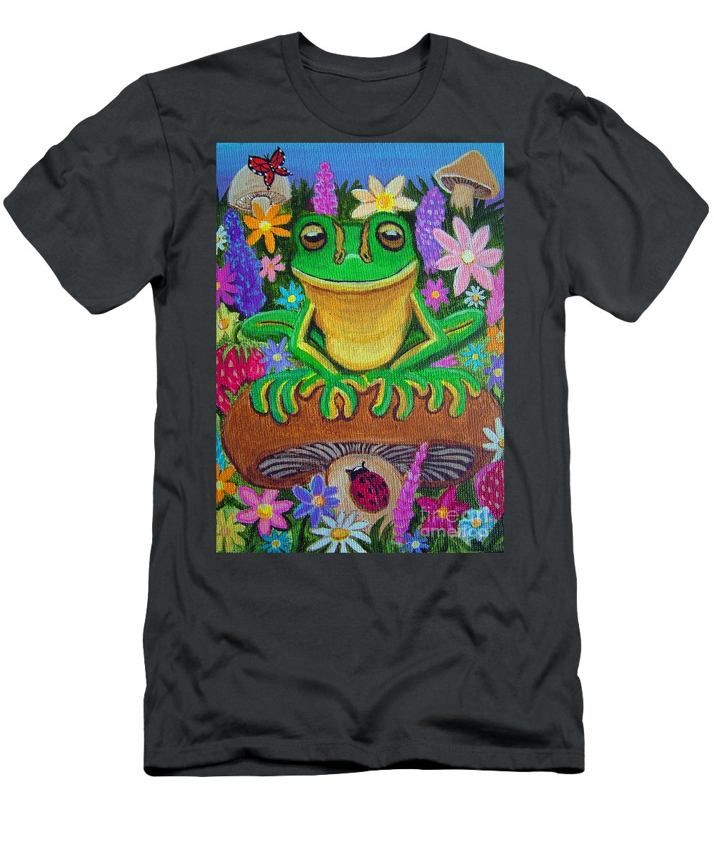 Frog Artwork Frog Painting Whimsical Artwork Green Frogs Men's T-Shirt (Athletic Fit) featuring the painting Frog On Mushroom by Nick Gustafson