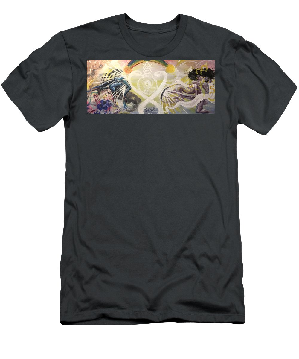 Spiritual Men's T-Shirt (Athletic Fit) featuring the painting From Revelations To Transformation by Sean Ivy aka Afro Art Ivy