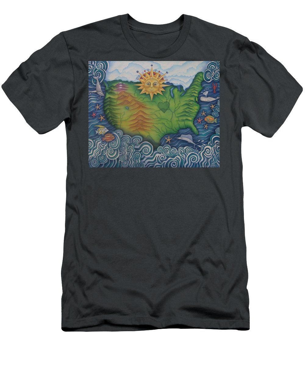 Map Men's T-Shirt (Athletic Fit) featuring the painting From Sea To Shining Sea by Jeniffer Stapher-Thomas