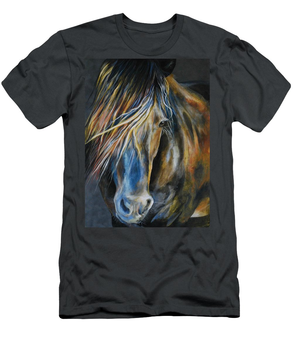 Horse Men's T-Shirt (Athletic Fit) featuring the painting From The Grays by Danielle Rosalie Pellicci