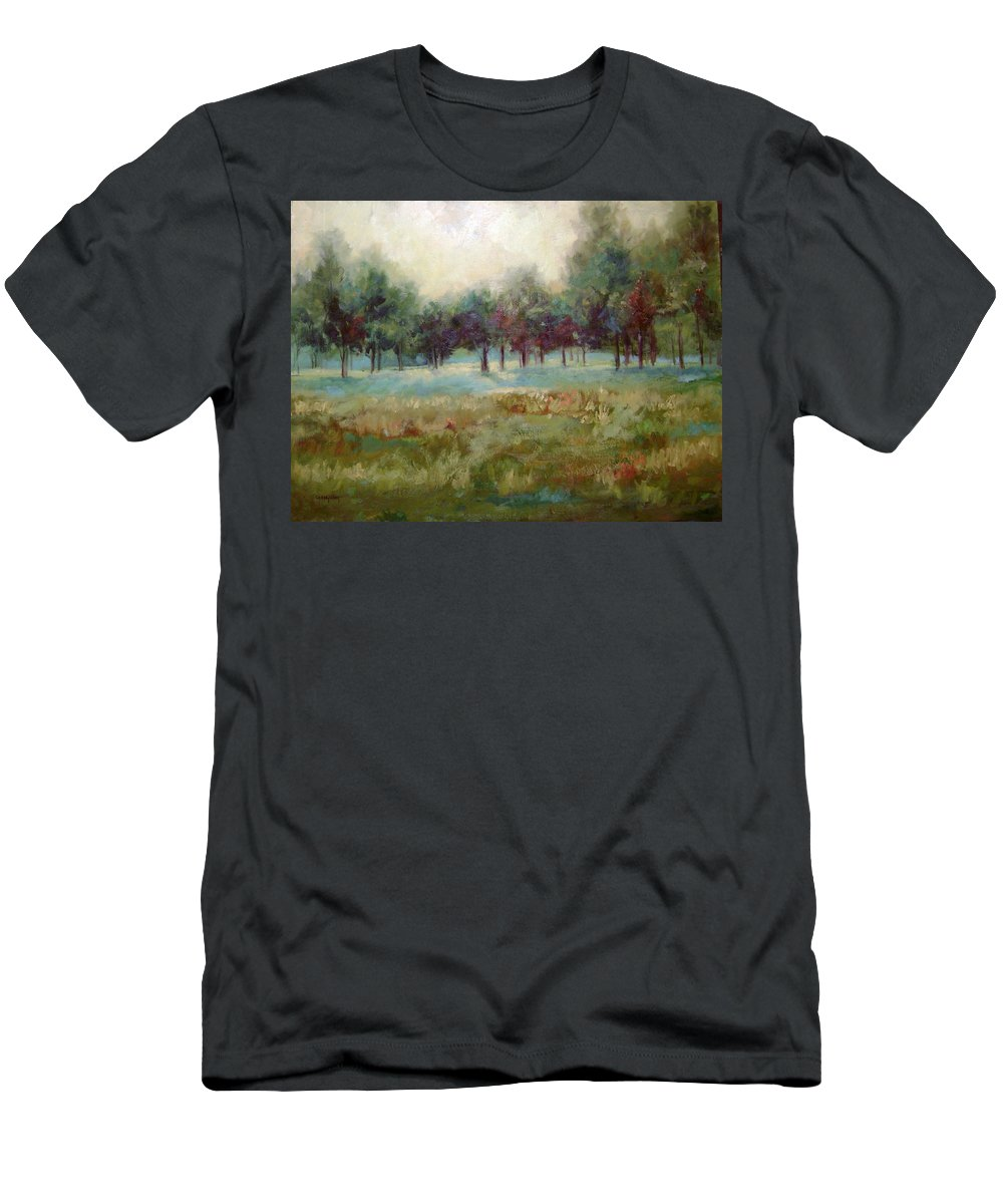 Country Scenes Men's T-Shirt (Athletic Fit) featuring the painting From The Other Side by Ginger Concepcion