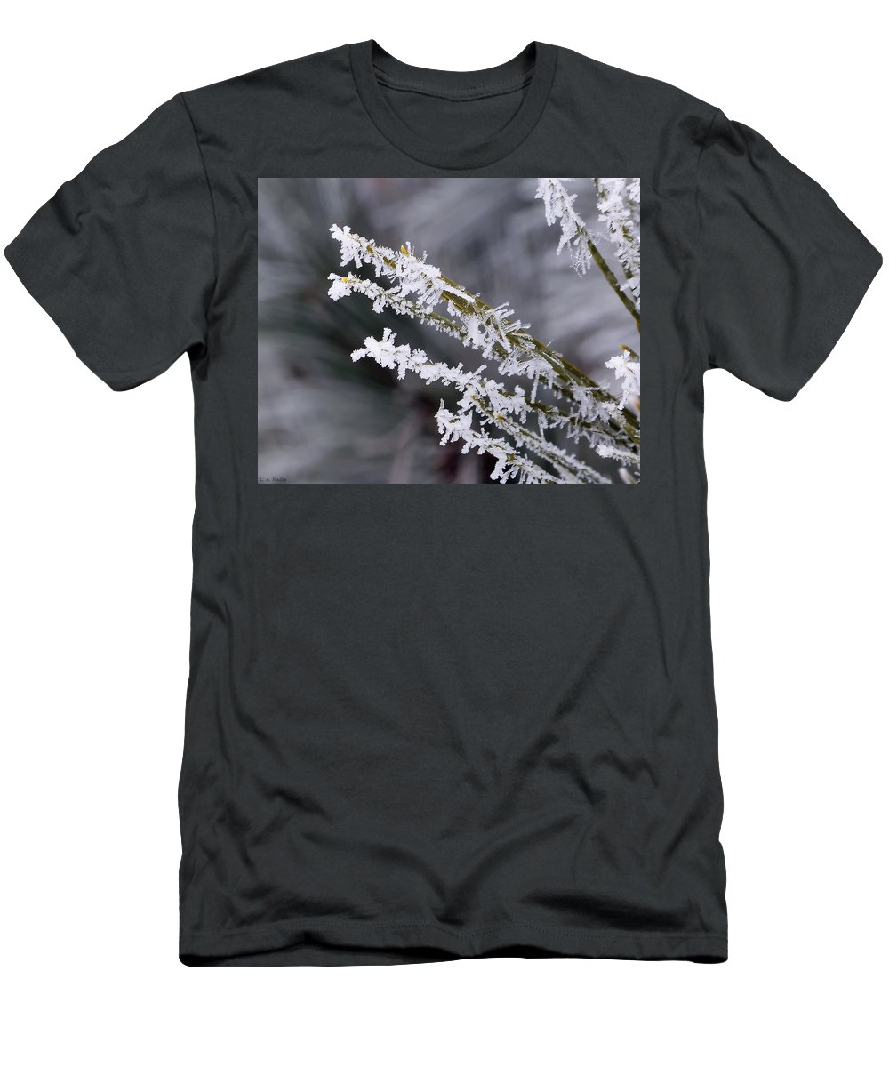 Macro Men's T-Shirt (Athletic Fit) featuring the photograph Frost by Lauren Radke