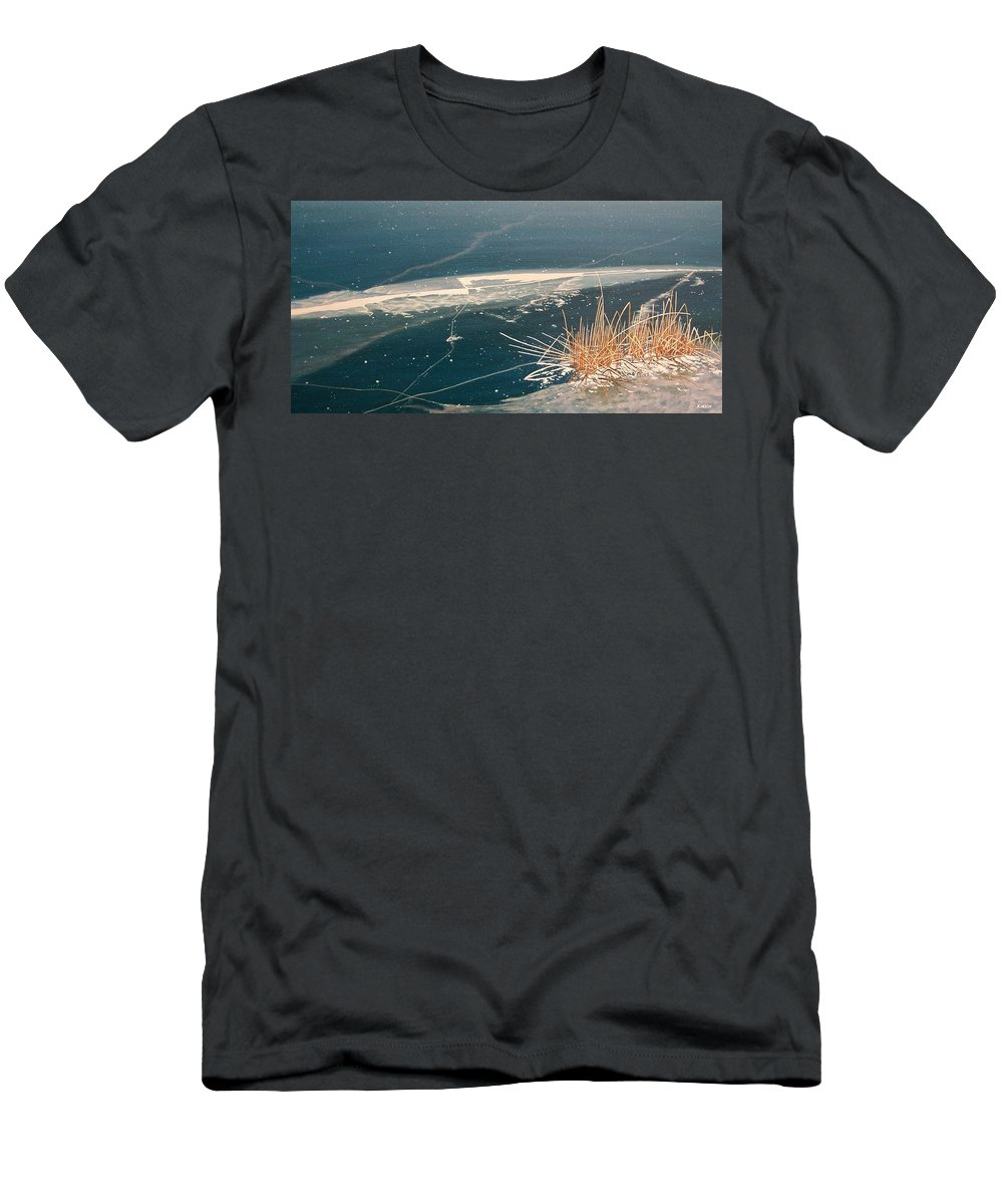 Llandscapes Men's T-Shirt (Athletic Fit) featuring the painting Frozen In Time by Kenneth M Kirsch