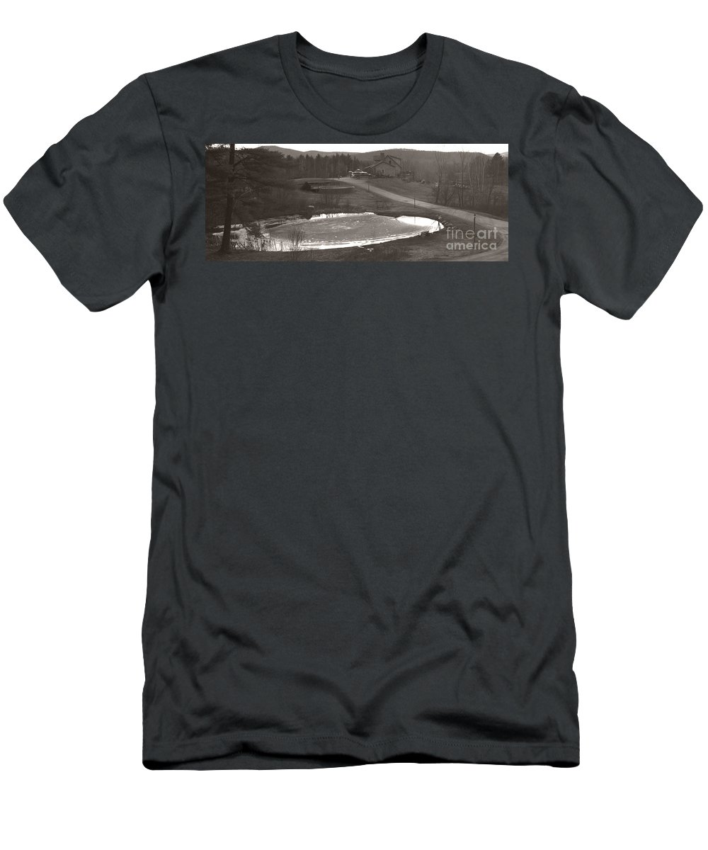 Men's T-Shirt (Athletic Fit) featuring the photograph Frozen Pond Camp Ground Panorama by Heather Kirk