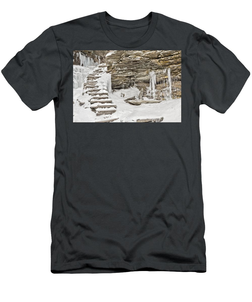 Snow Men's T-Shirt (Athletic Fit) featuring the photograph Frozen Stairs by Eduardo Gil