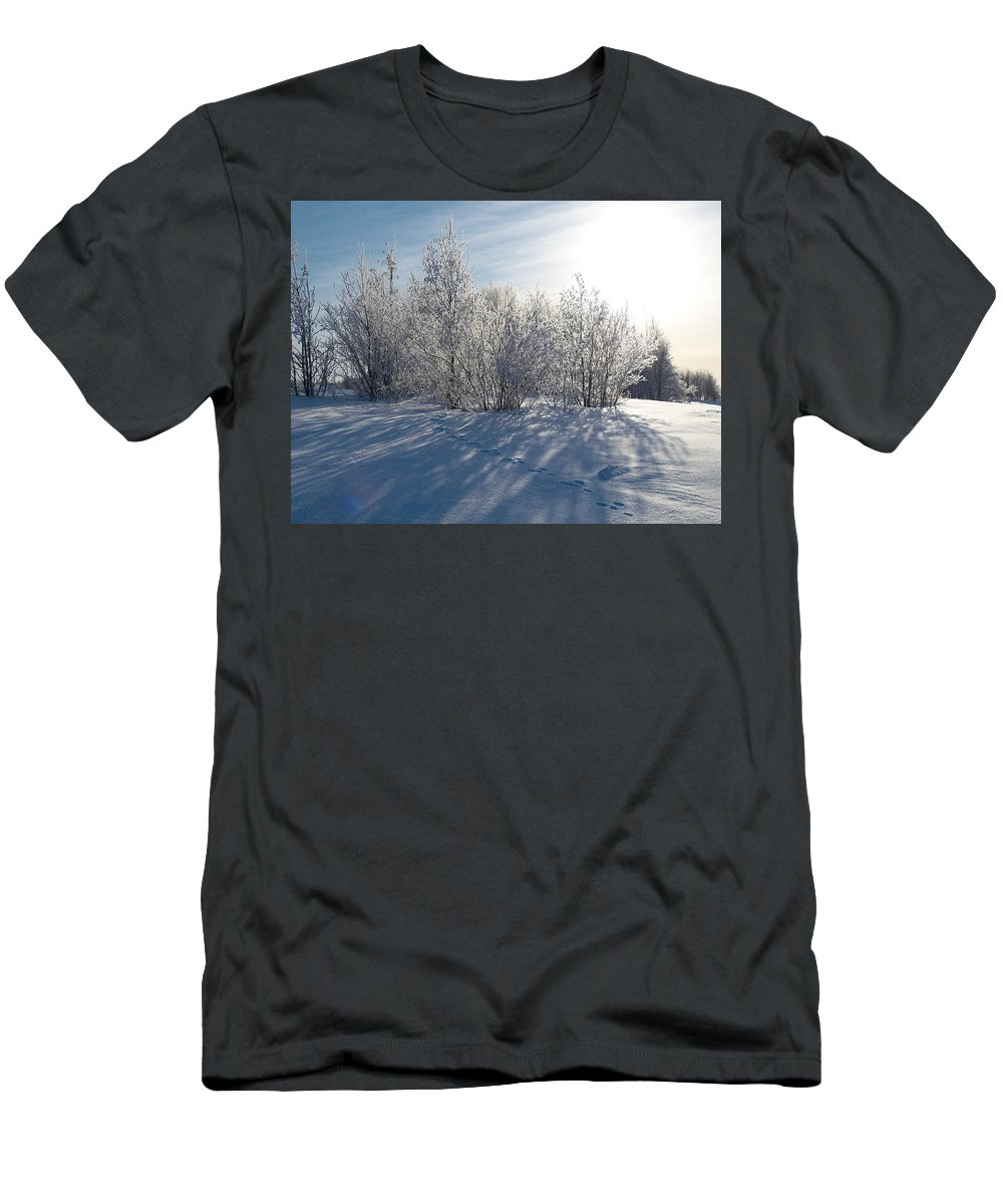 Talvi Men's T-Shirt (Athletic Fit) featuring the photograph Frozen Views 3 by Jouko Lehto