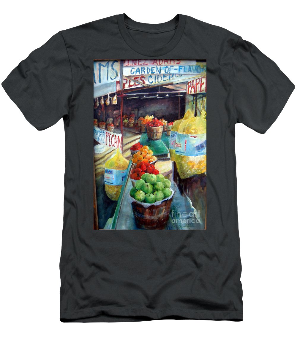 Fruit Men's T-Shirt (Athletic Fit) featuring the painting Fruitstand Rhythms by Linda Shackelford