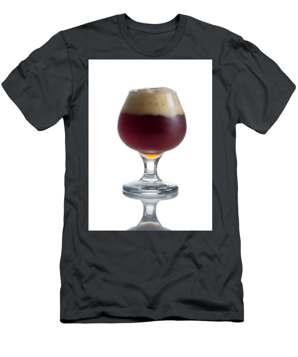 Beer Men's T-Shirt (Athletic Fit) featuring the photograph Full Draft Dark Beer In Glass Goblet by Thomas Baker