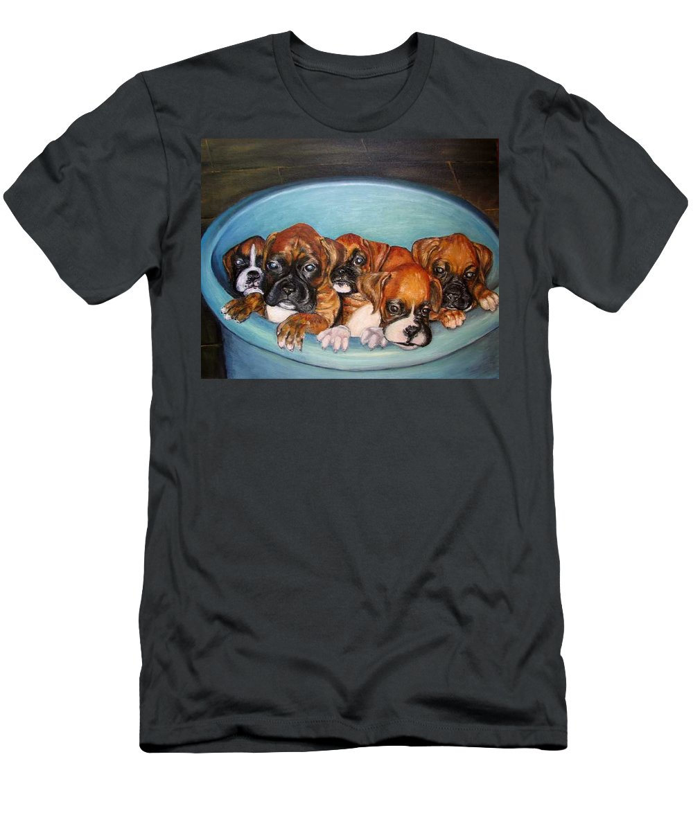Oil T-Shirt featuring the painting Funny Puppies orginal oil painting by Natalja Picugina