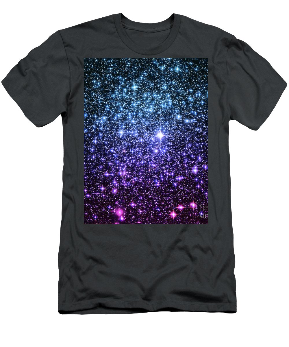 Space Men's T-Shirt (Athletic Fit) featuring the digital art Galaxy Stars Teal Violet Pink by Johari Smith