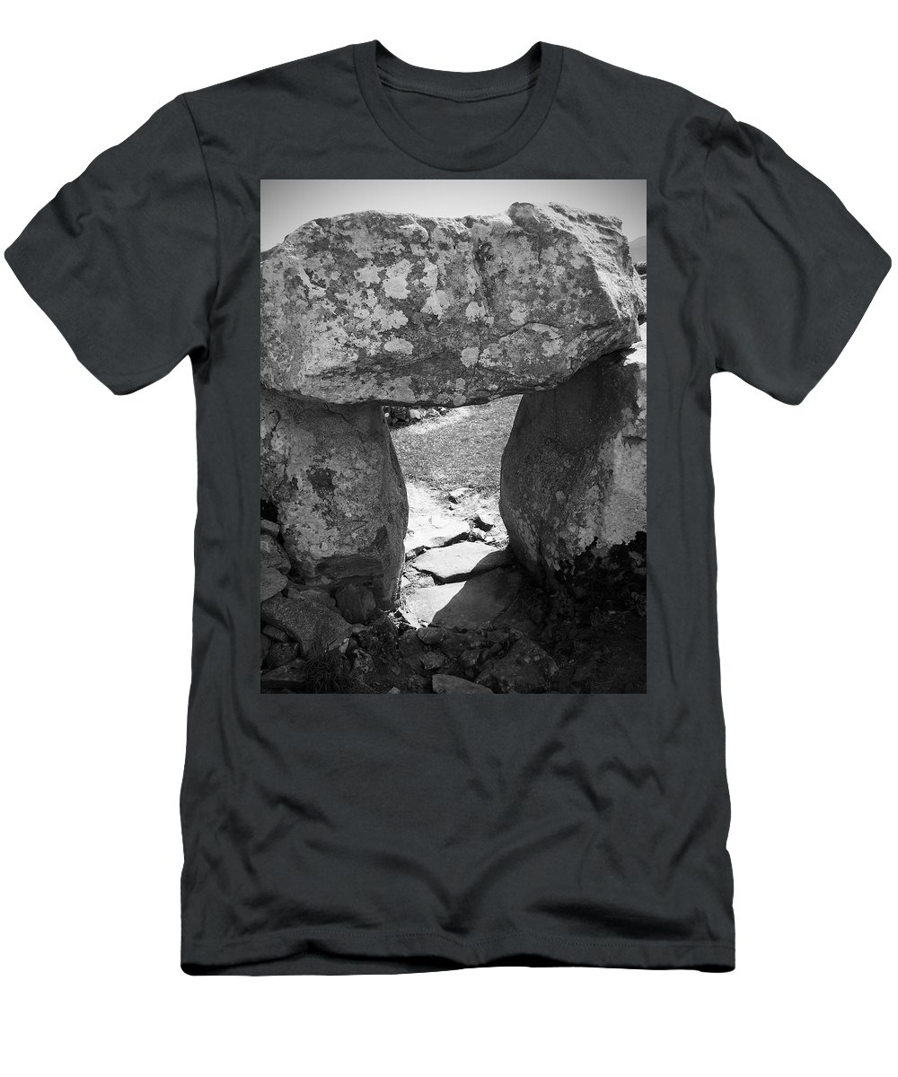 Ireland Men's T-Shirt (Athletic Fit) featuring the photograph Gallery Entrance At Creevykeel Court Cairn Ireland by Teresa Mucha
