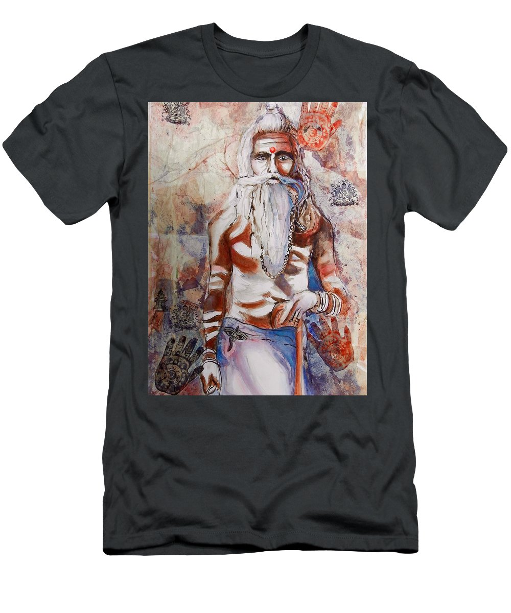 Figure Men's T-Shirt (Athletic Fit) featuring the painting Ganges Guru by Myra Evans