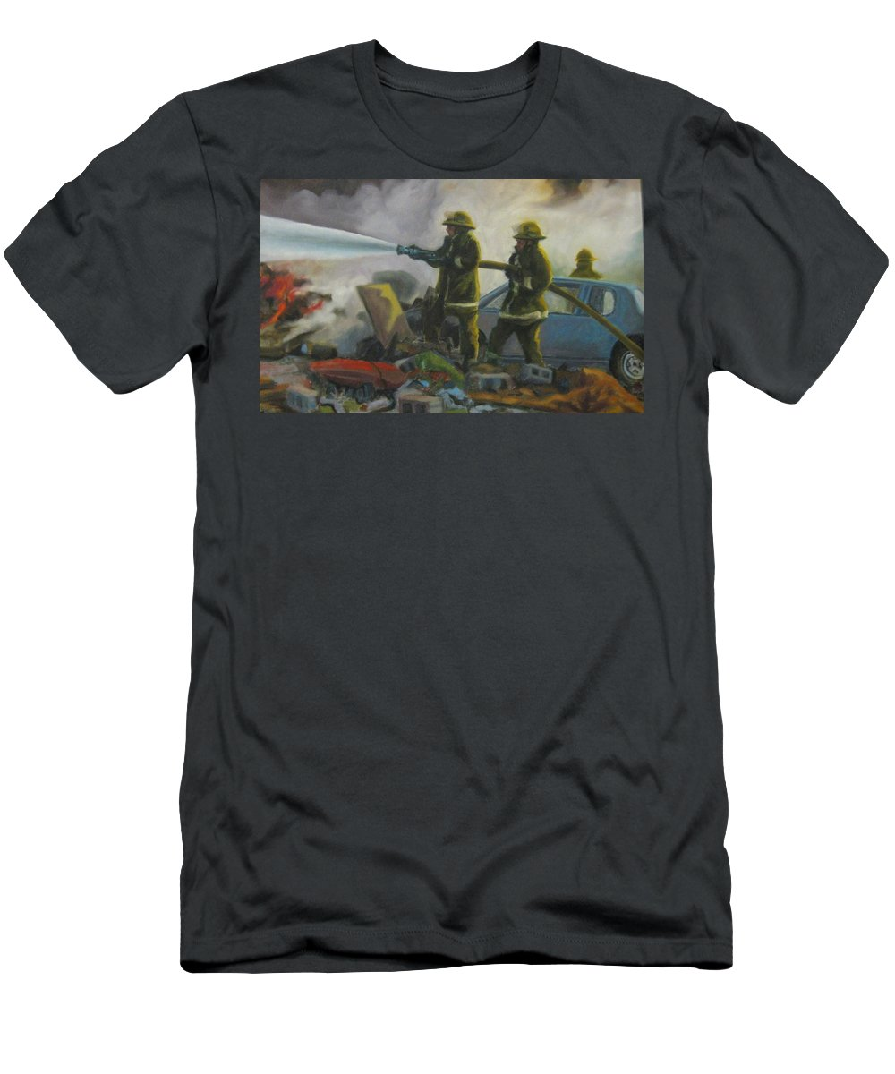 Firefighters Men's T-Shirt (Athletic Fit) featuring the painting Garage Fire by John Malone