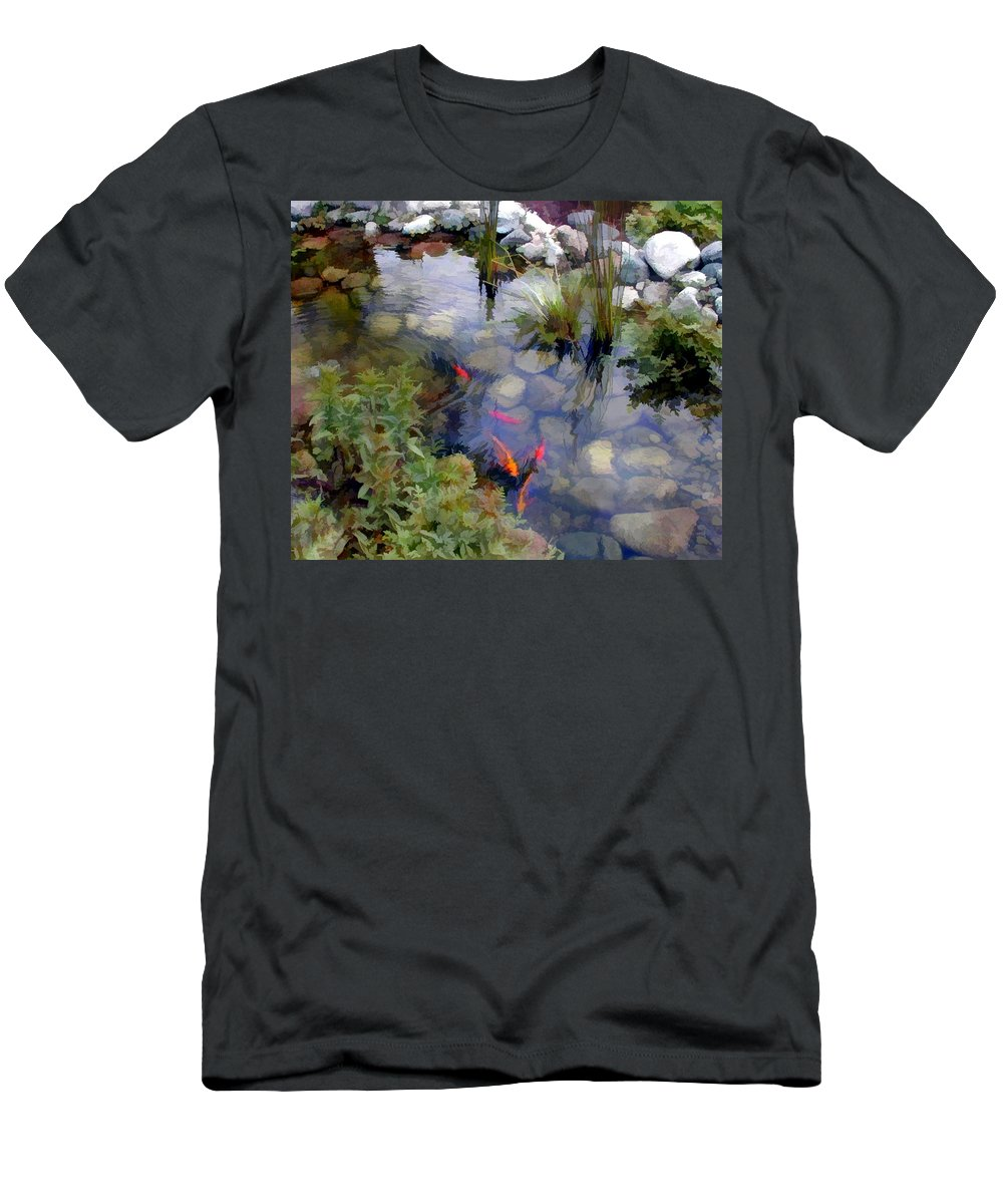 Nature Men's T-Shirt (Athletic Fit) featuring the painting Garden Koi Pond by Elaine Plesser