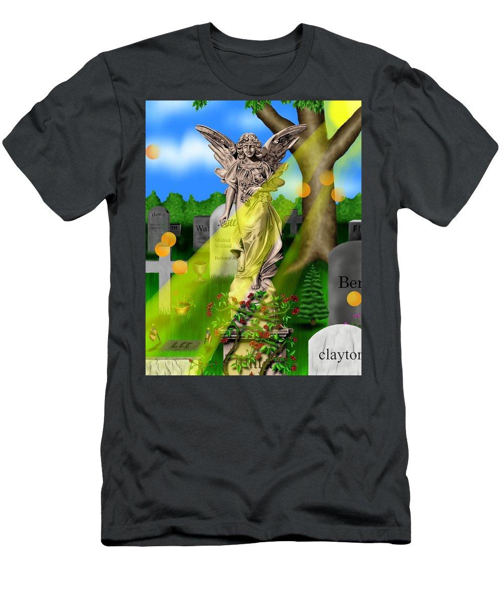 Surrealism T-Shirt featuring the digital art Garden Landscape III a - Where The Dead Sleep by Robert Morin