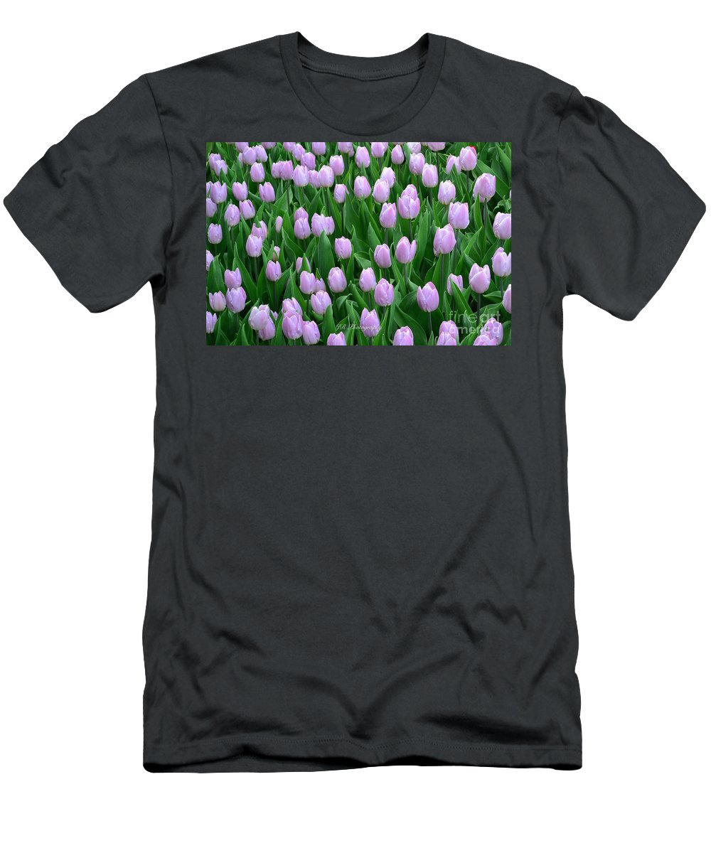 Garden Of Pink Tulips Men's T-Shirt (Athletic Fit) featuring the photograph Garden Of Pink Tulips by Jeannie Rhode