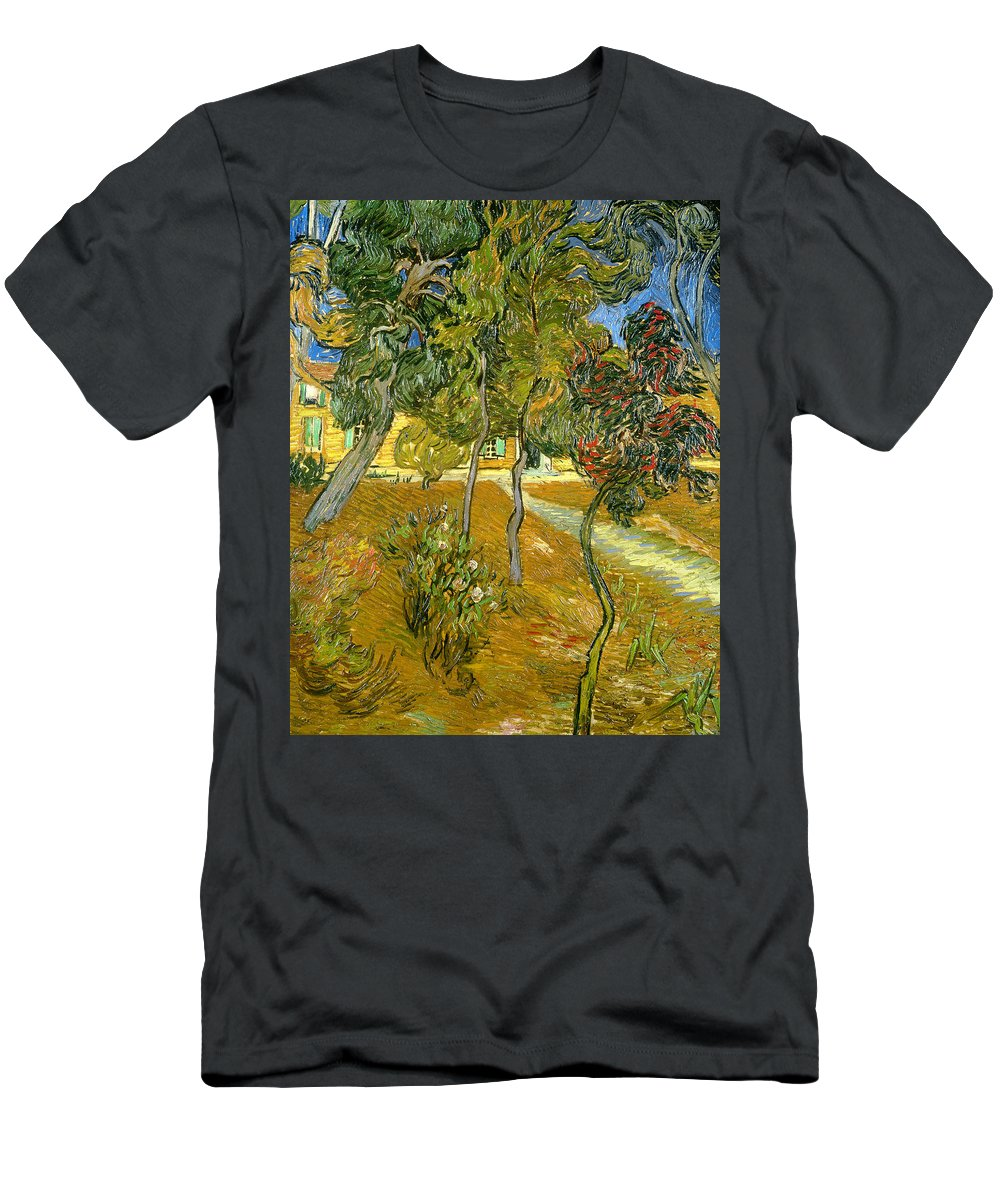 Garden Men's T-Shirt (Athletic Fit) featuring the painting Garden Of Saint Paul's Hospital by Vincent van Gogh