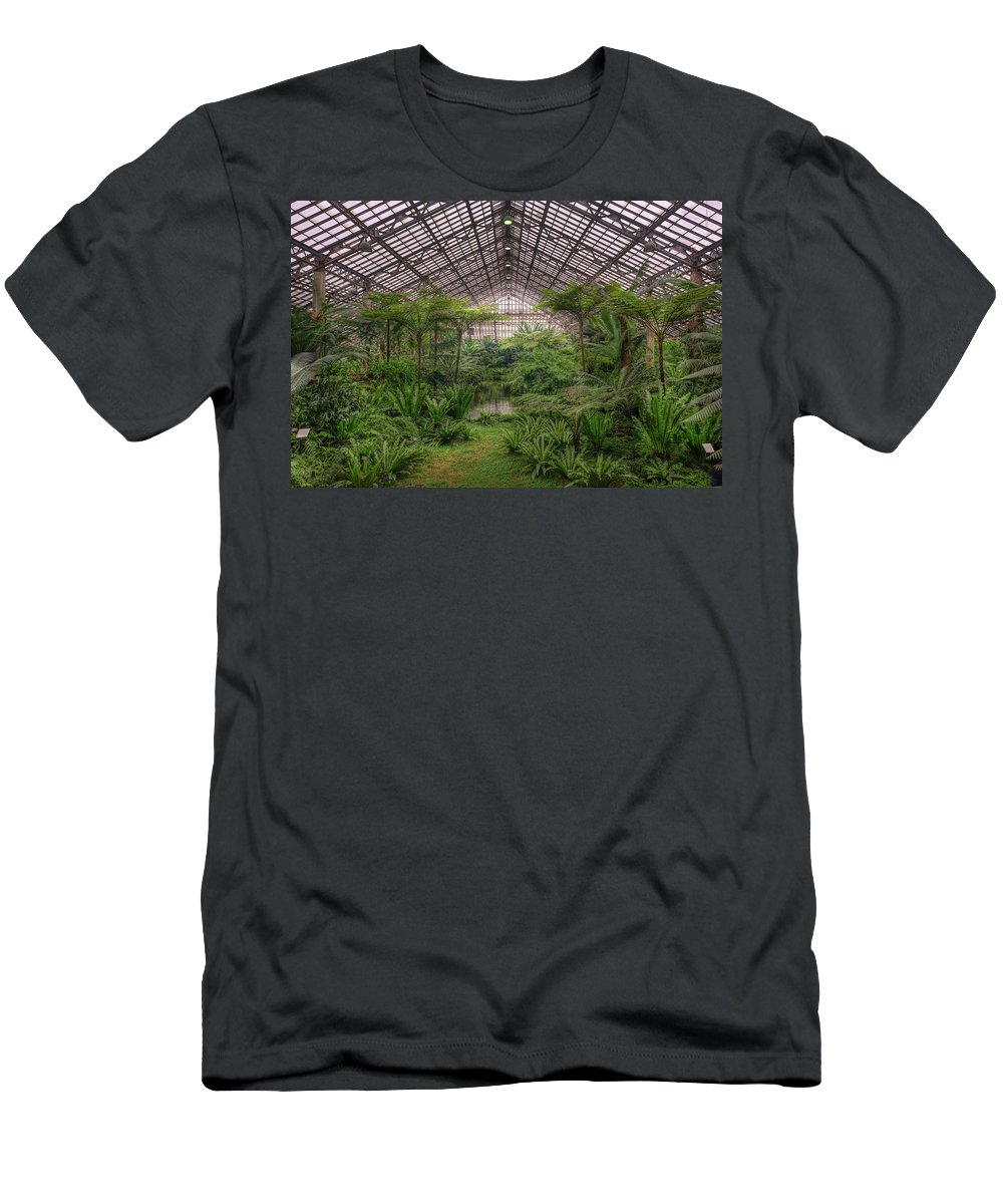 Chicago Men's T-Shirt (Athletic Fit) featuring the photograph Garfield Park Conservatory Main Pond by Steve Gadomski