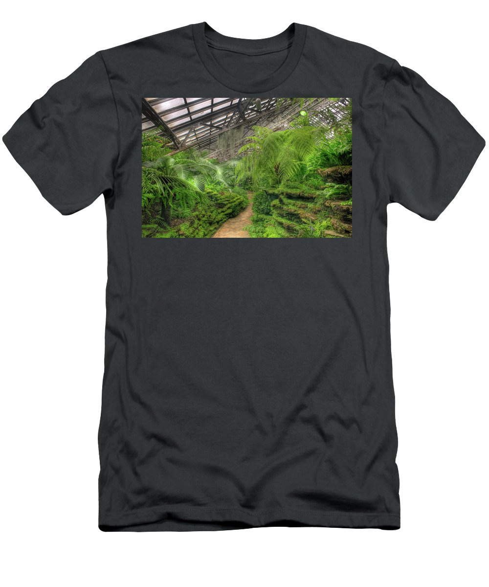 Garfield Men's T-Shirt (Athletic Fit) featuring the photograph Garfield Park Conservatory Path Chicago by Steve Gadomski