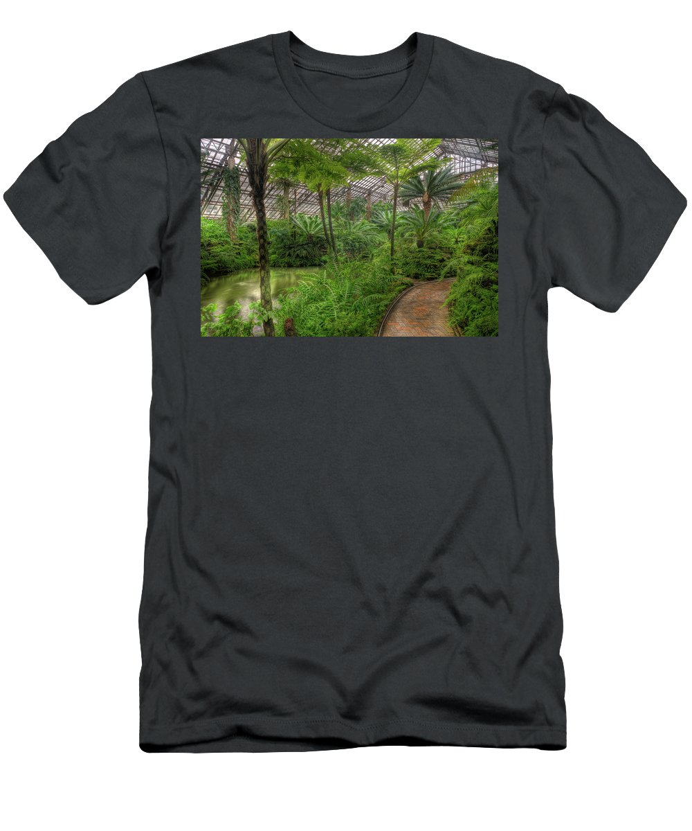Chicago Men's T-Shirt (Athletic Fit) featuring the photograph Garfield Park Conservatory Pond And Path Chicago by Steve Gadomski