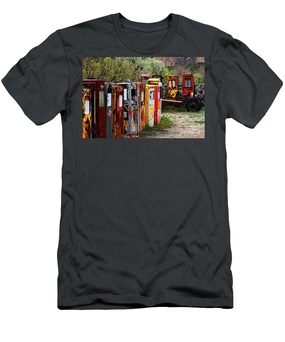 New Mexico Men's T-Shirt (Athletic Fit) featuring the photograph Gas Pump Conga Line In New Mexico by Catherine Sherman