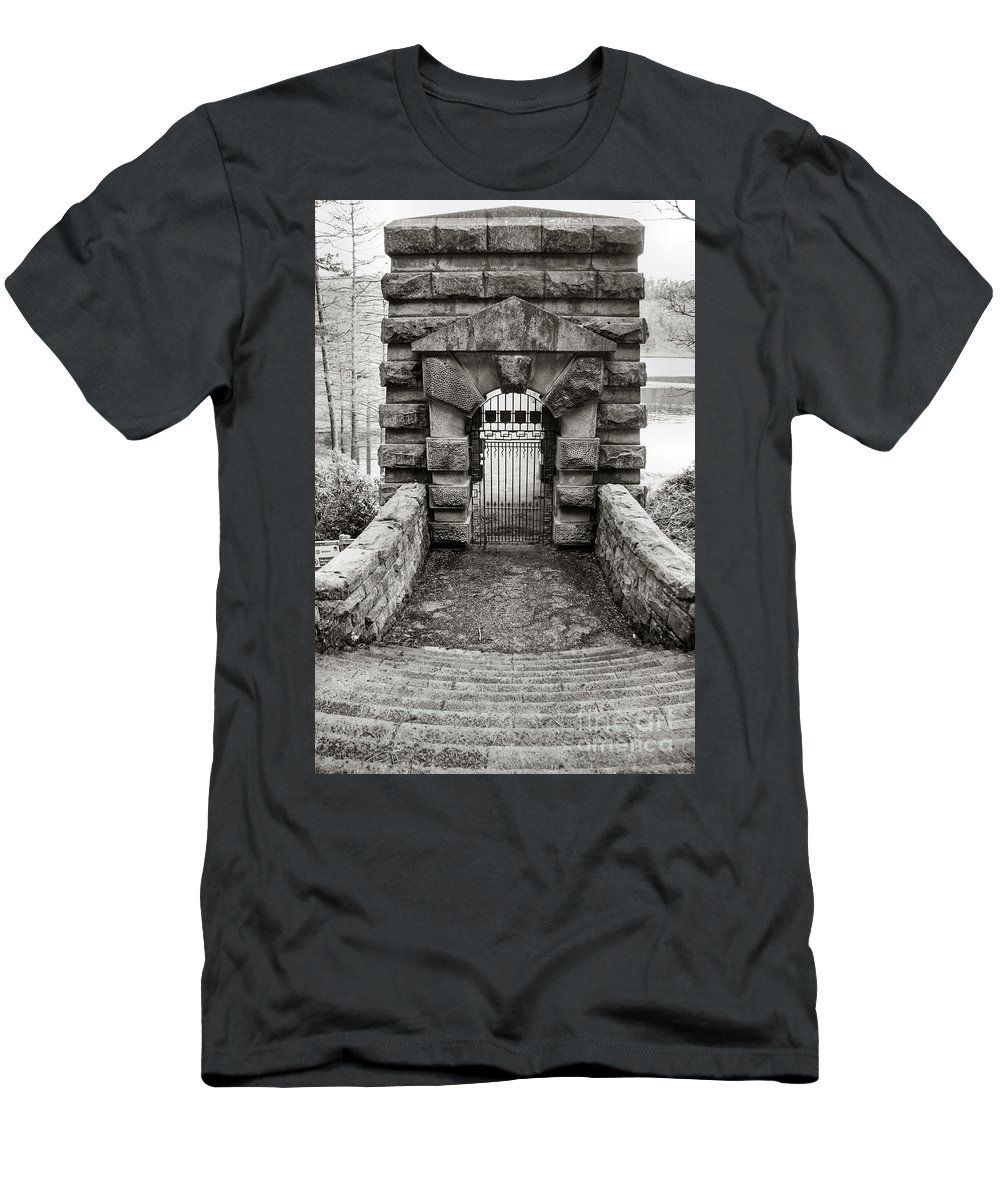 Landscape - England - Artistic - Stone - Ironwork - Steps Men's T-Shirt (Athletic Fit) featuring the photograph Gateway by Chris Horsnell