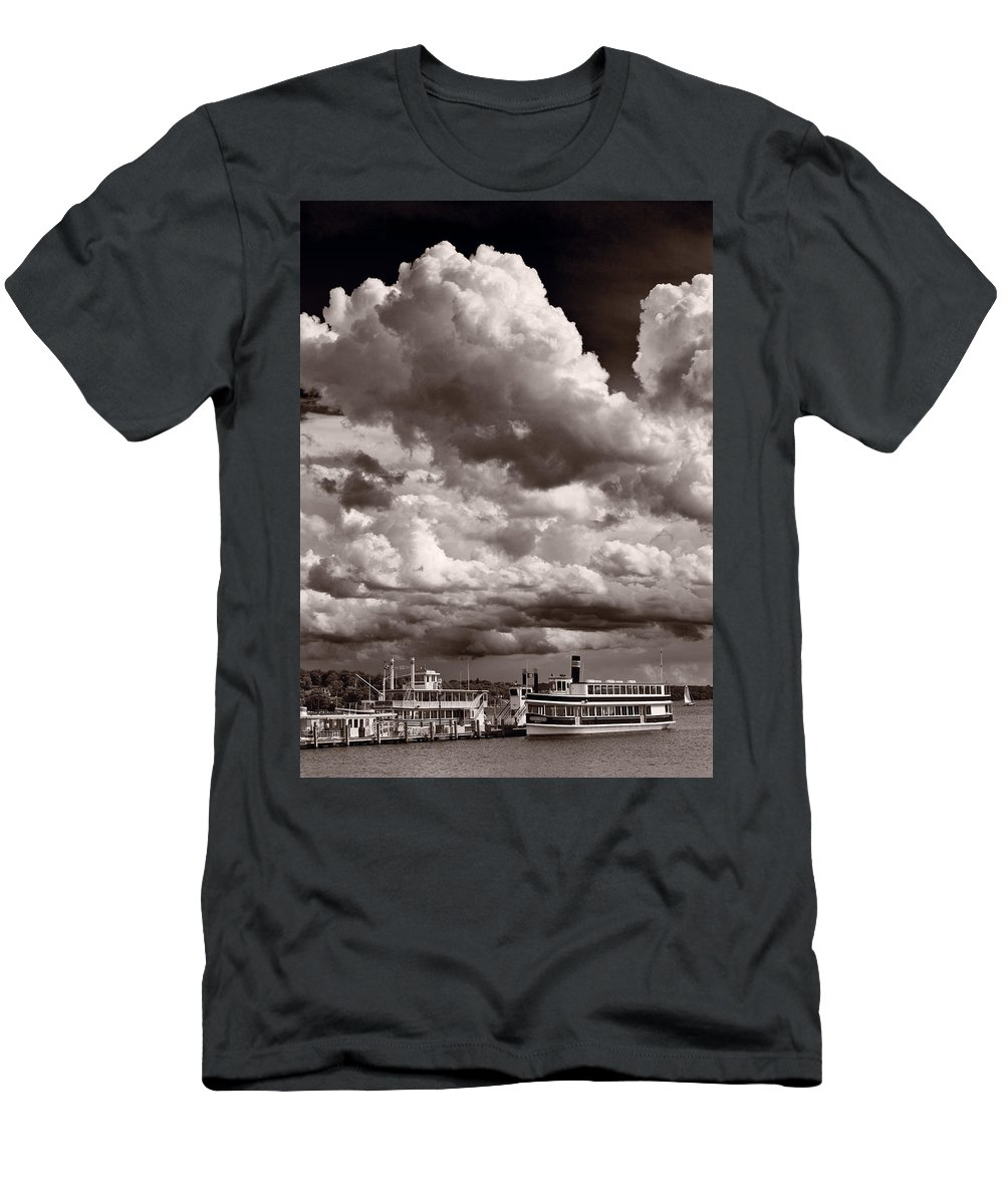 Lake Men's T-Shirt (Athletic Fit) featuring the photograph Gathering Clouds Over Lake Geneva Bw by Steve Gadomski