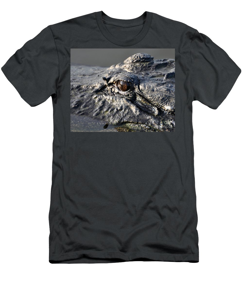 Alligator Men's T-Shirt (Athletic Fit) featuring the photograph Gator Gaze by Al Powell Photography USA