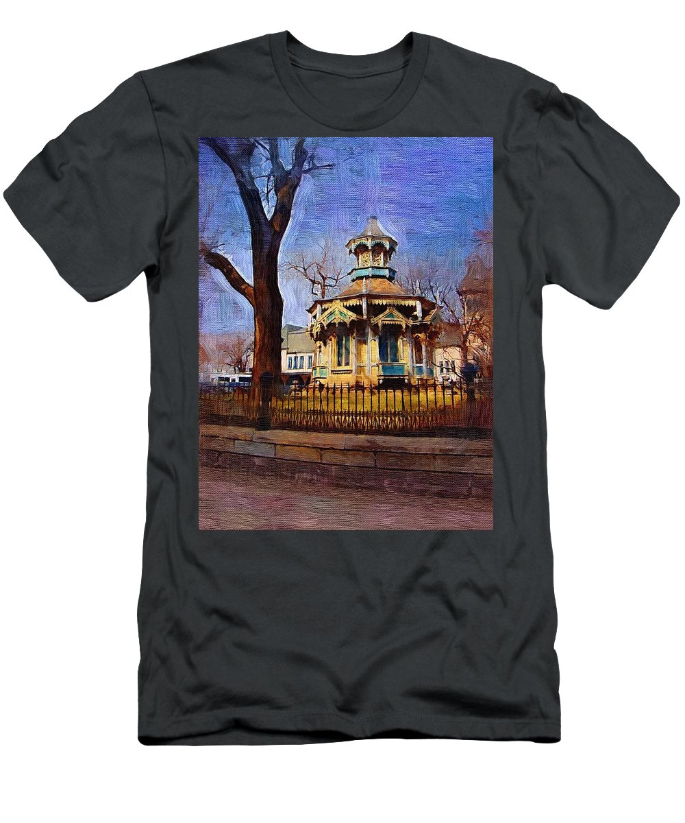 Architecture Men's T-Shirt (Athletic Fit) featuring the digital art Gazebo And Tree by Anita Burgermeister