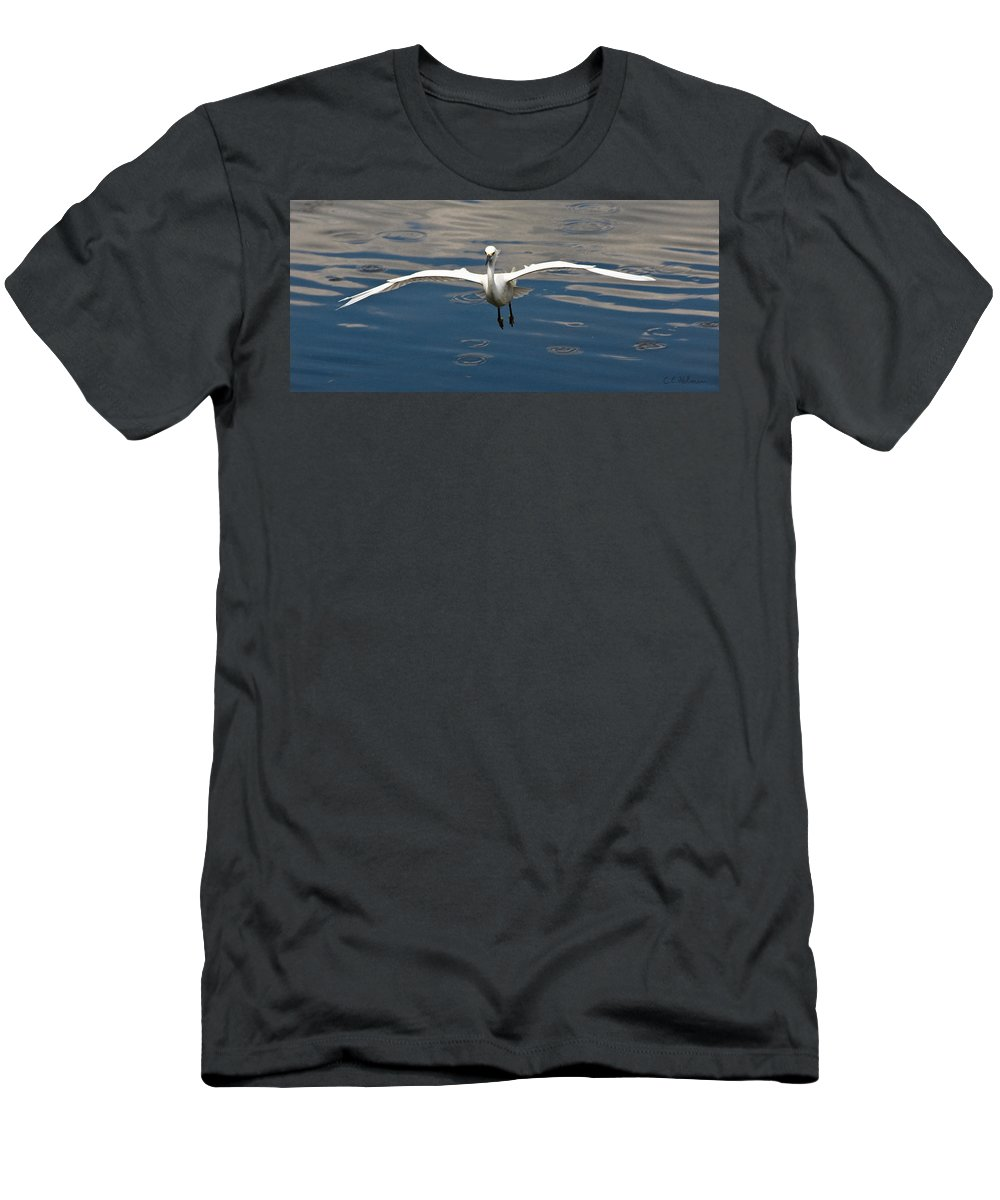 Snowy Egret Men's T-Shirt (Athletic Fit) featuring the photograph Gear Down by Christopher Holmes