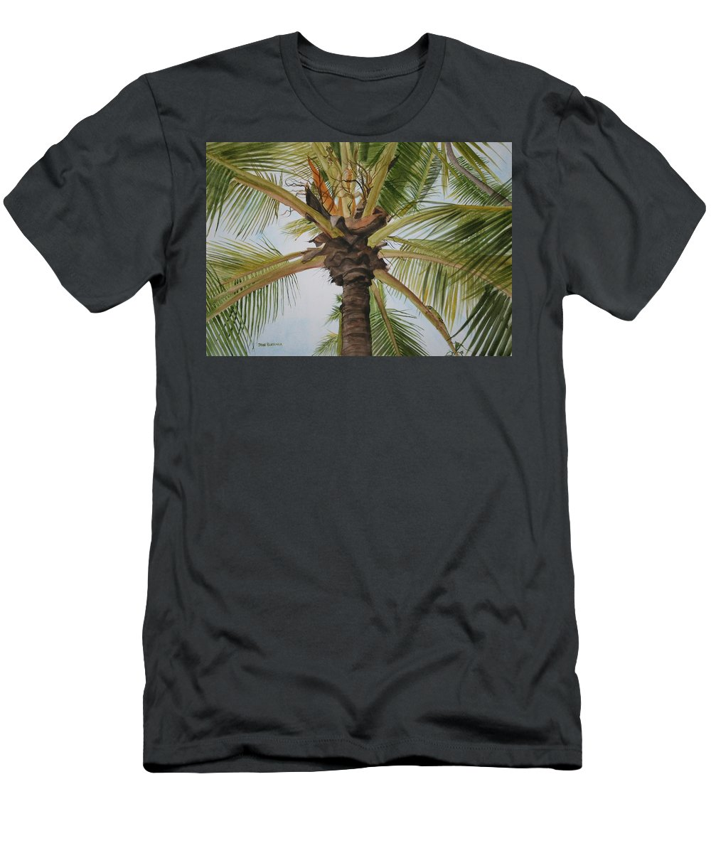 Palm Tree Men's T-Shirt (Athletic Fit) featuring the painting Gecko Heaven by Jean Blackmer