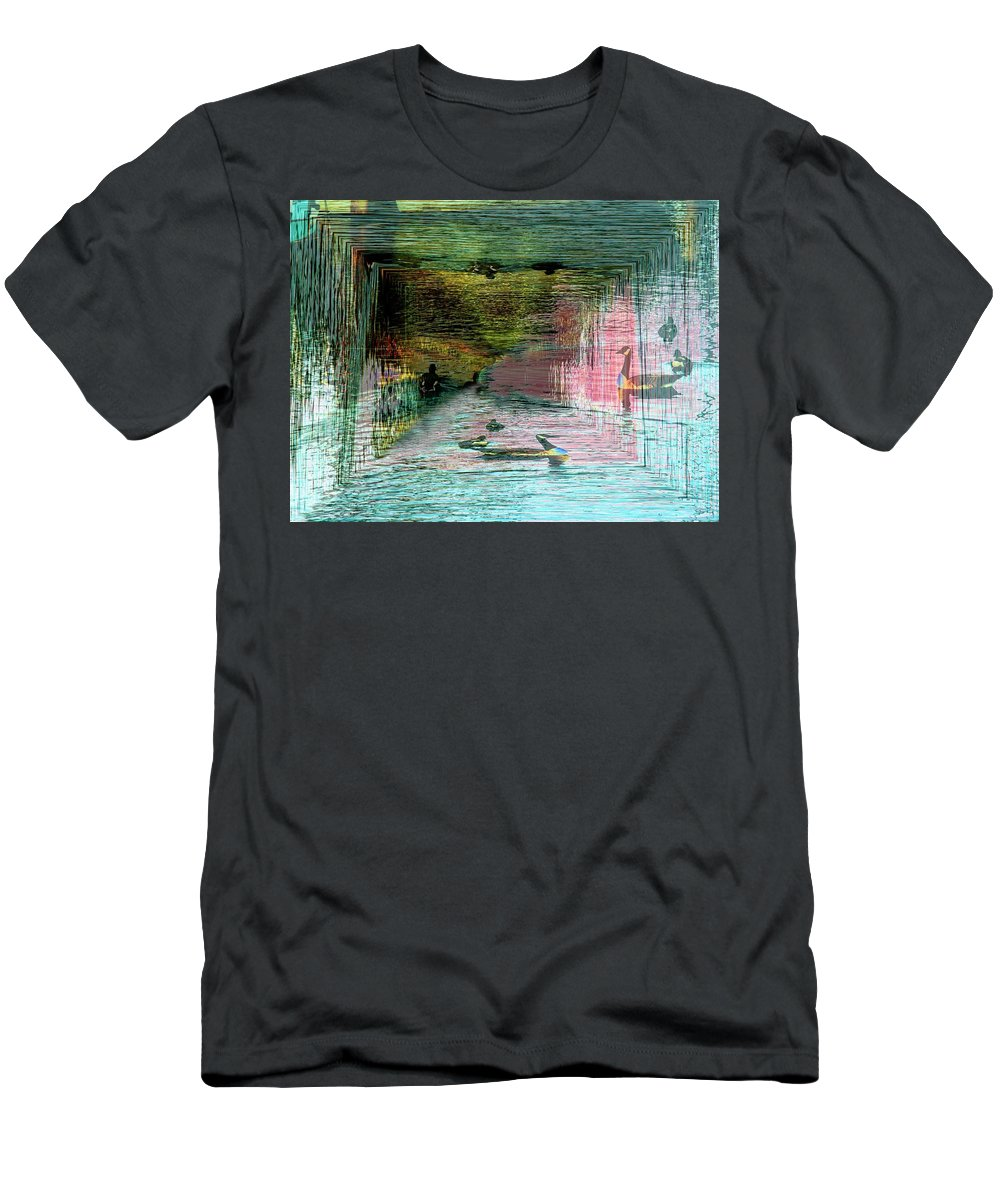 Geese Men's T-Shirt (Athletic Fit) featuring the photograph Geese In The Vortex by Tim Allen