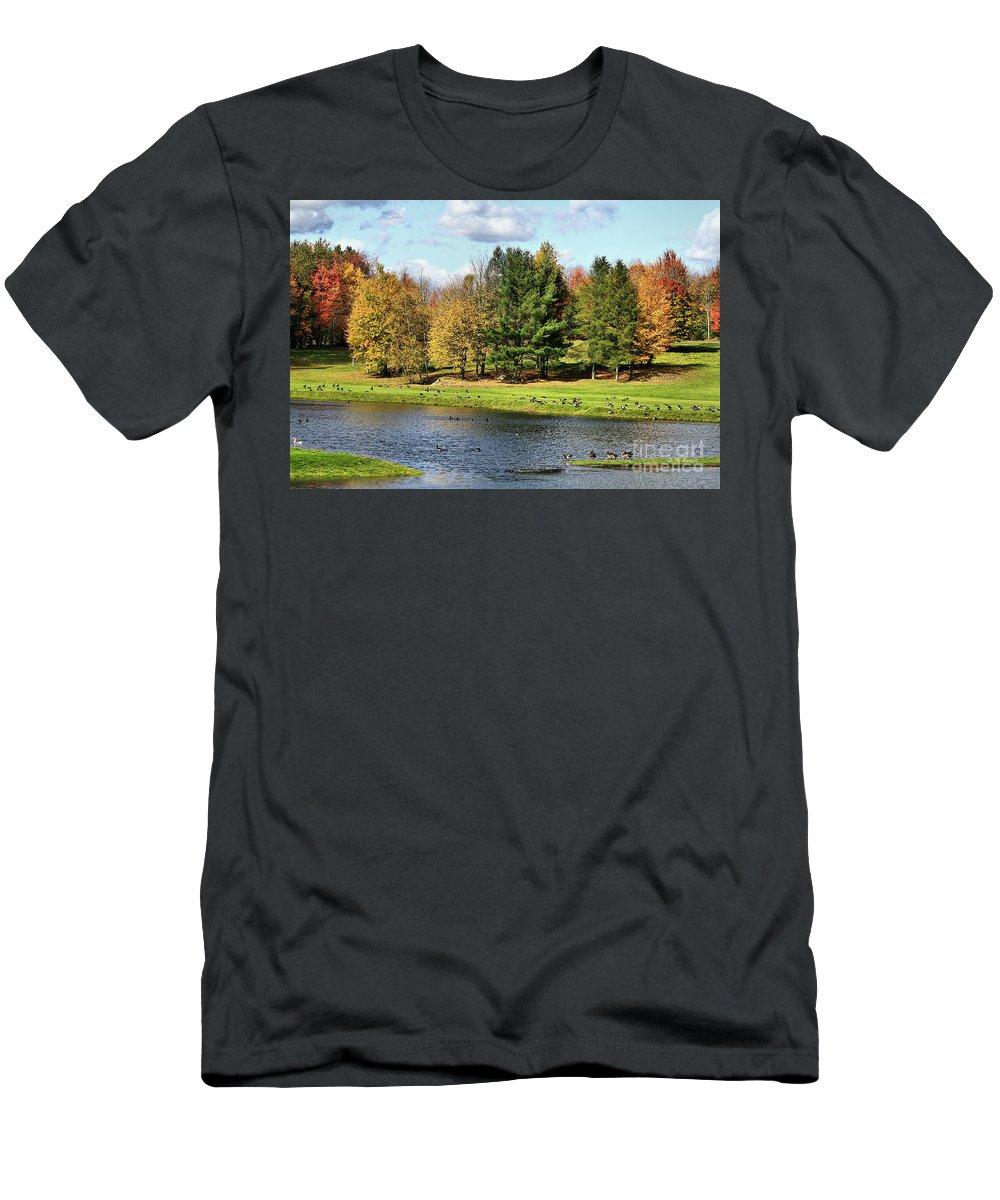 Fall Men's T-Shirt (Athletic Fit) featuring the photograph Geese Sanctuary by Deborah Benoit