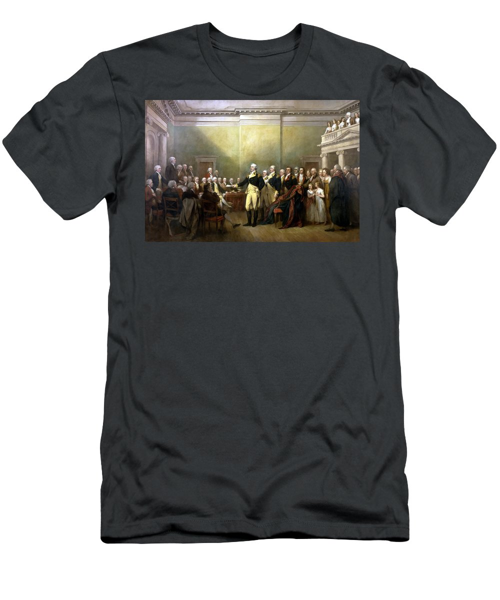 George Washington Men's T-Shirt (Athletic Fit) featuring the painting General Washington Resigning His Commission by War Is Hell Store