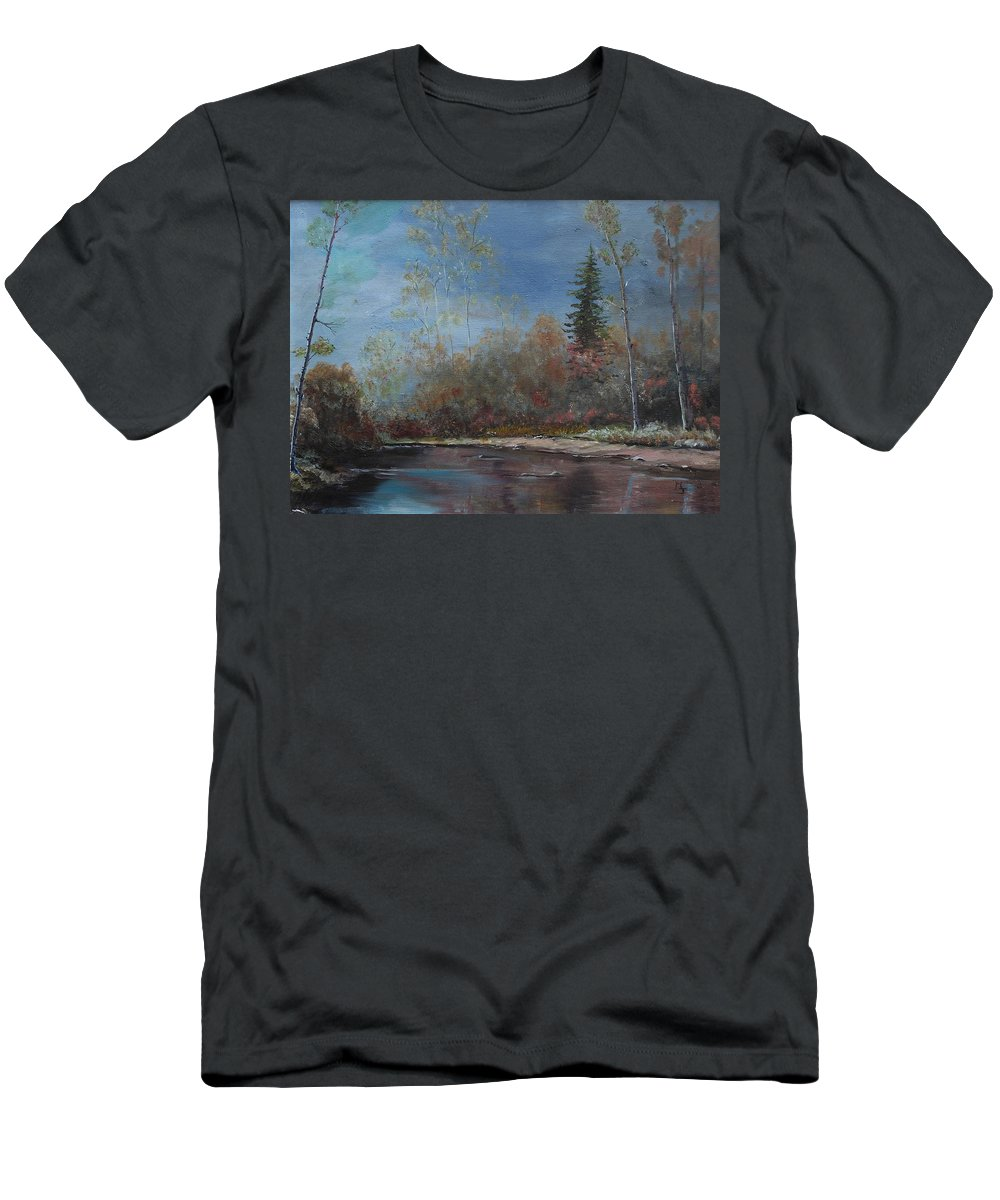 River Men's T-Shirt (Athletic Fit) featuring the painting Gentle Stream - Lmj by Ruth Kamenev
