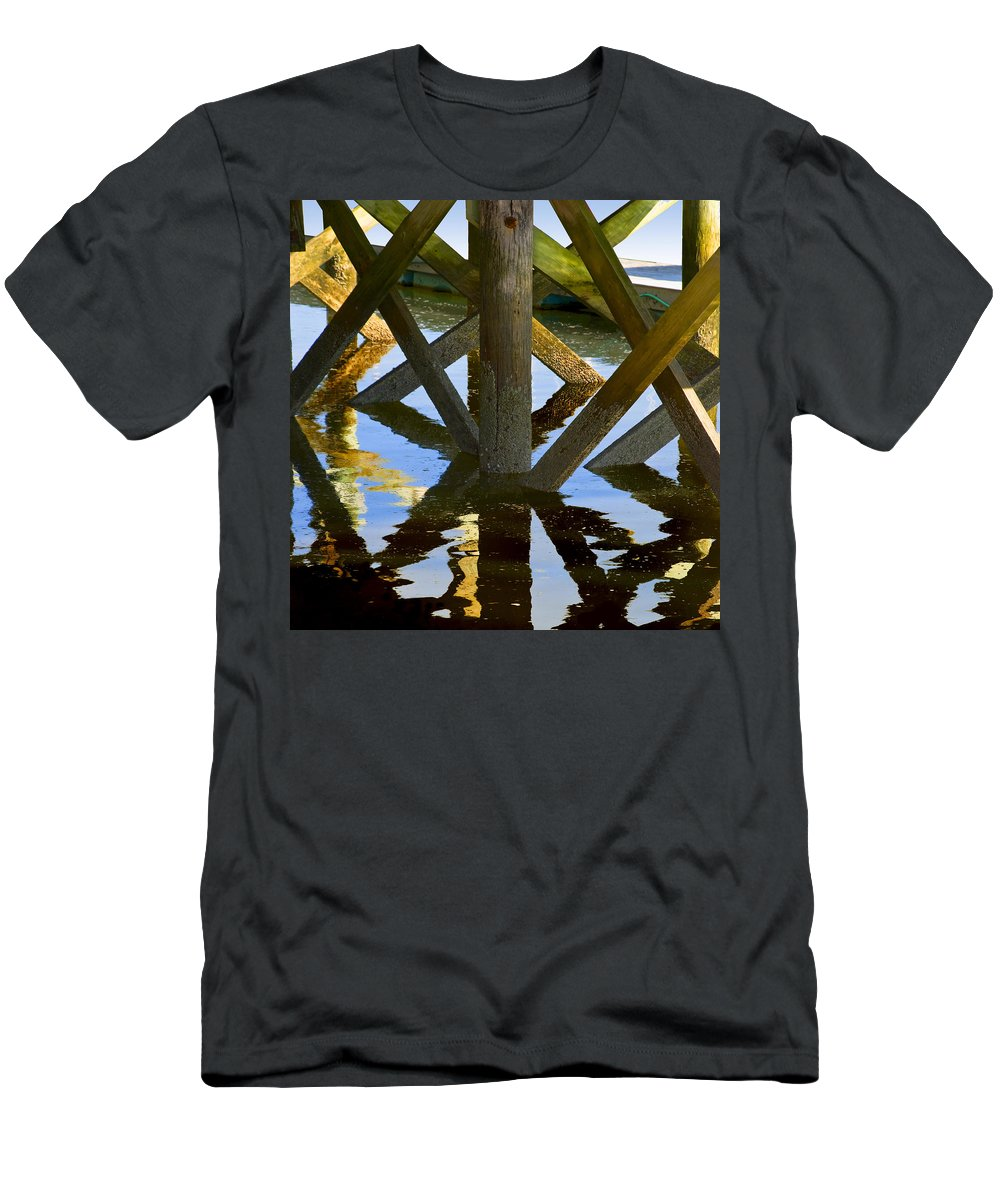 Geometric Men's T-Shirt (Athletic Fit) featuring the photograph Geometric Pilings by Charles Harden