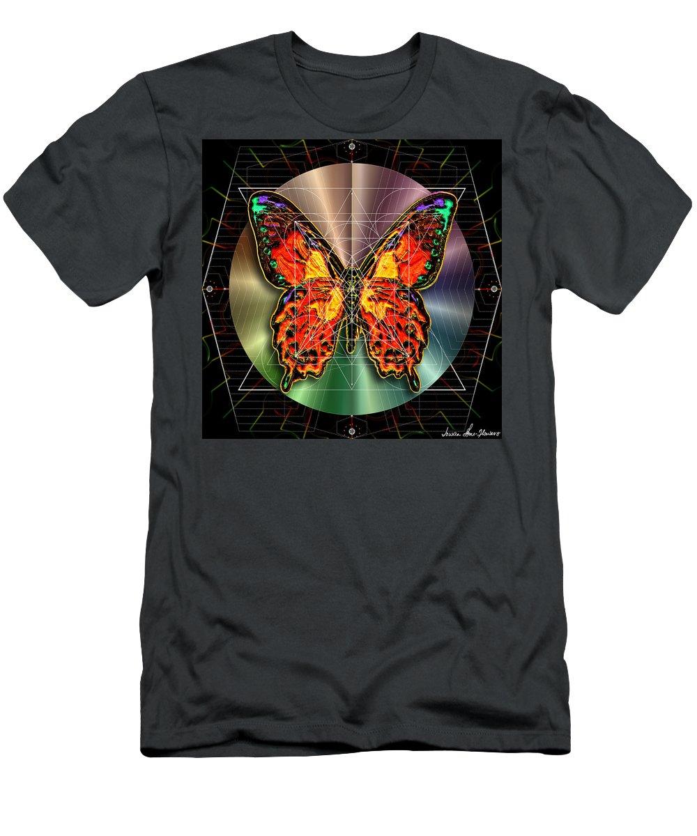 Butterfly Men's T-Shirt (Athletic Fit) featuring the digital art Geometron Fyr Lepidoptera by Iowan Stone-Flowers