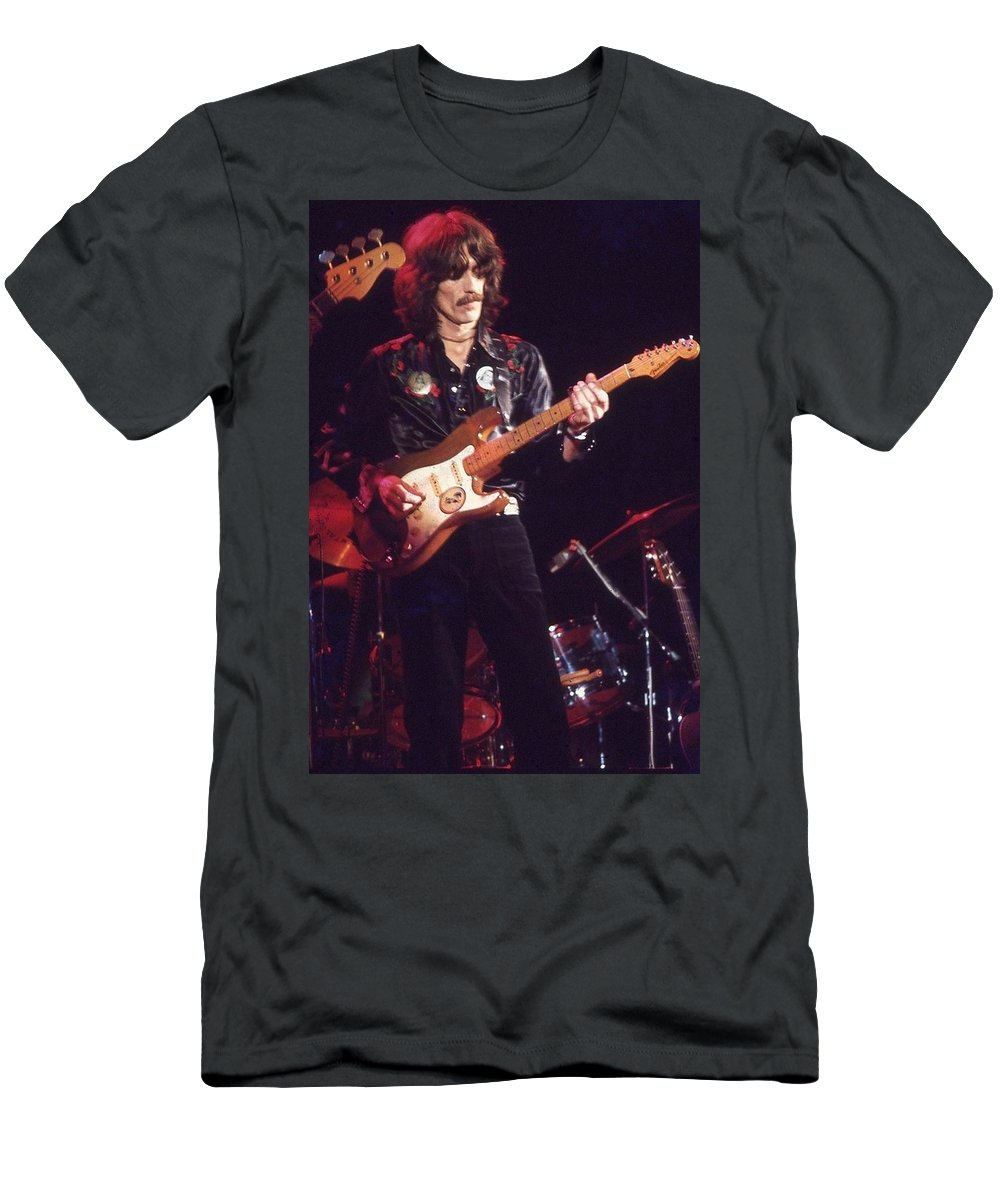 Harrison Men's T-Shirt (Athletic Fit) featuring the photograph George Harrison 2 by Joseph T Farriella