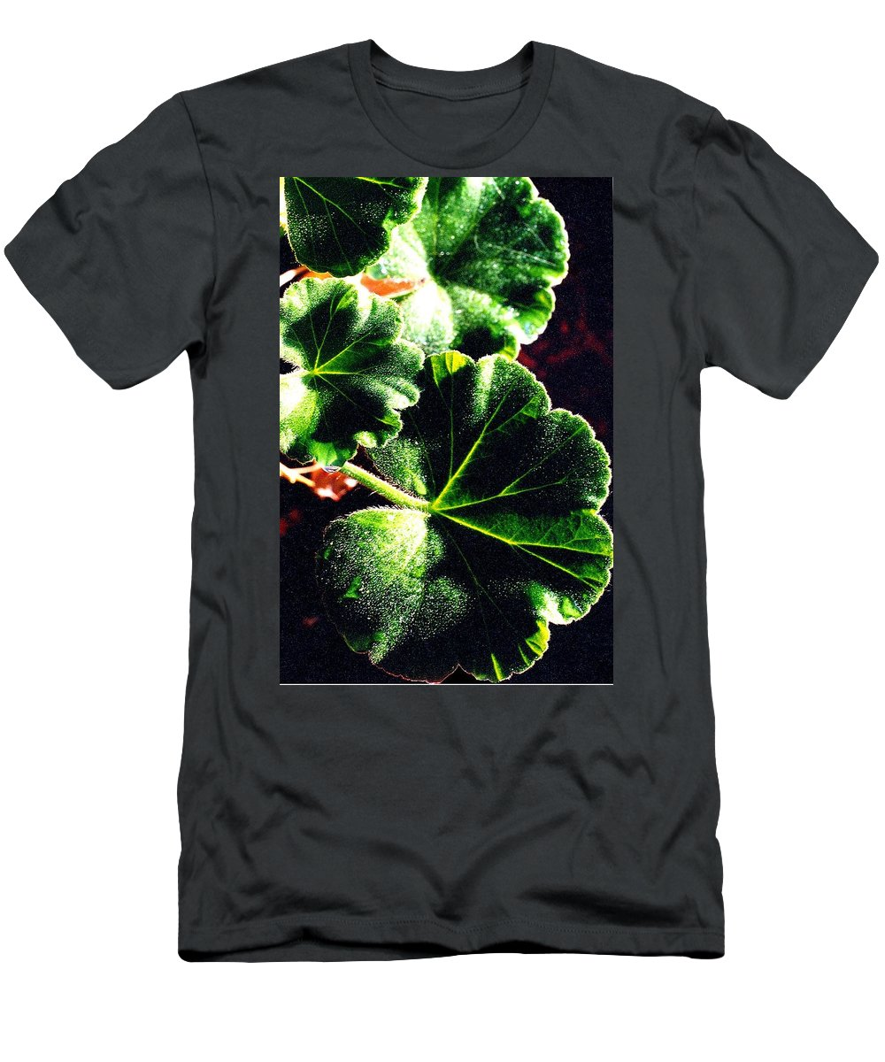 Geraniums Men's T-Shirt (Athletic Fit) featuring the photograph Geranium Leaves by Nancy Mueller