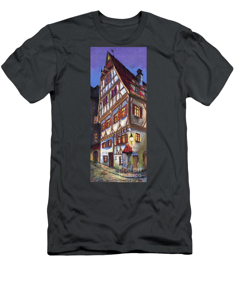 Pastel Men's T-Shirt (Athletic Fit) featuring the painting Germany Ulm Old Street by Yuriy Shevchuk