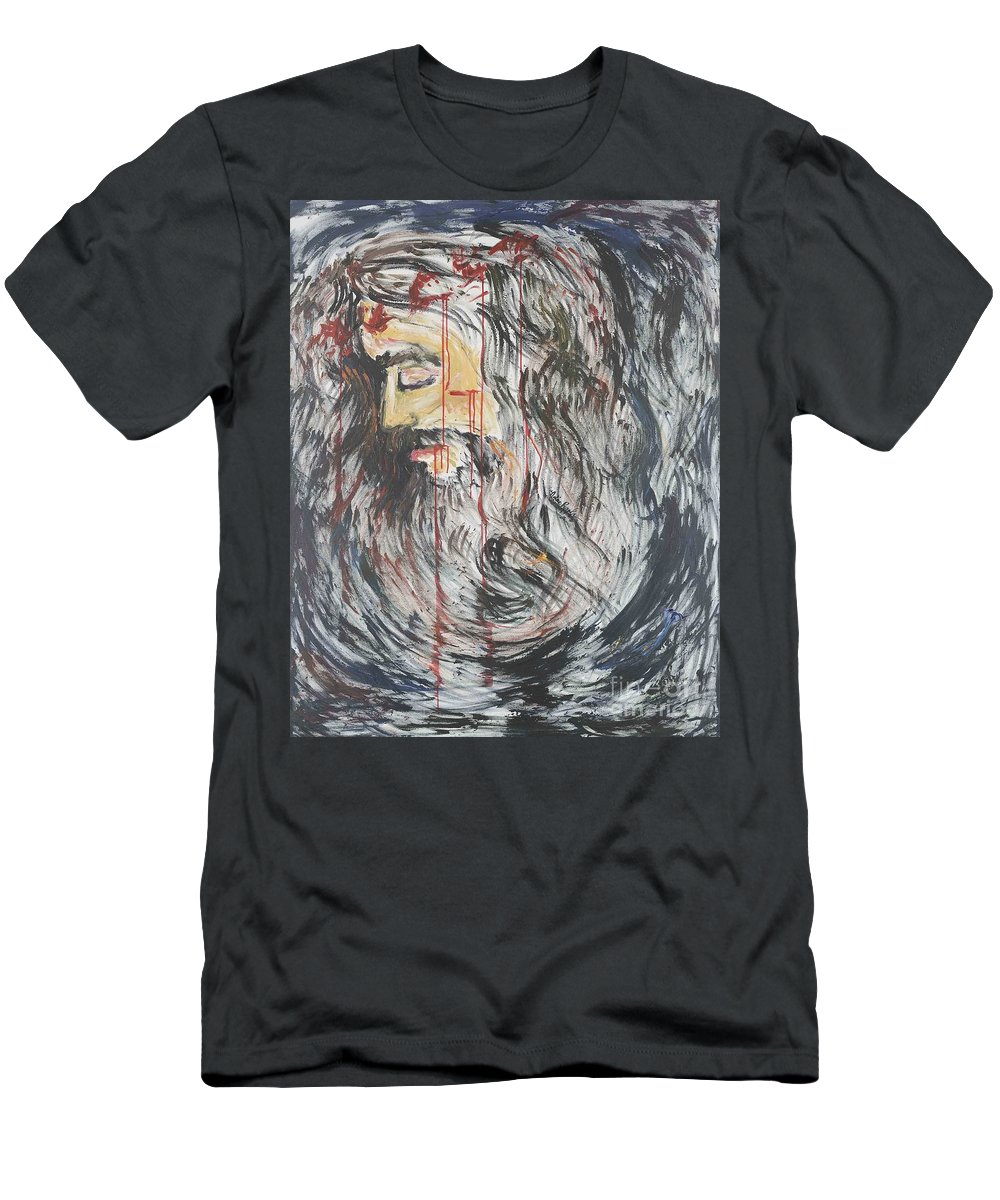 Jesus Men's T-Shirt (Athletic Fit) featuring the painting Gethsemane To Golgotha IIi by Nadine Rippelmeyer