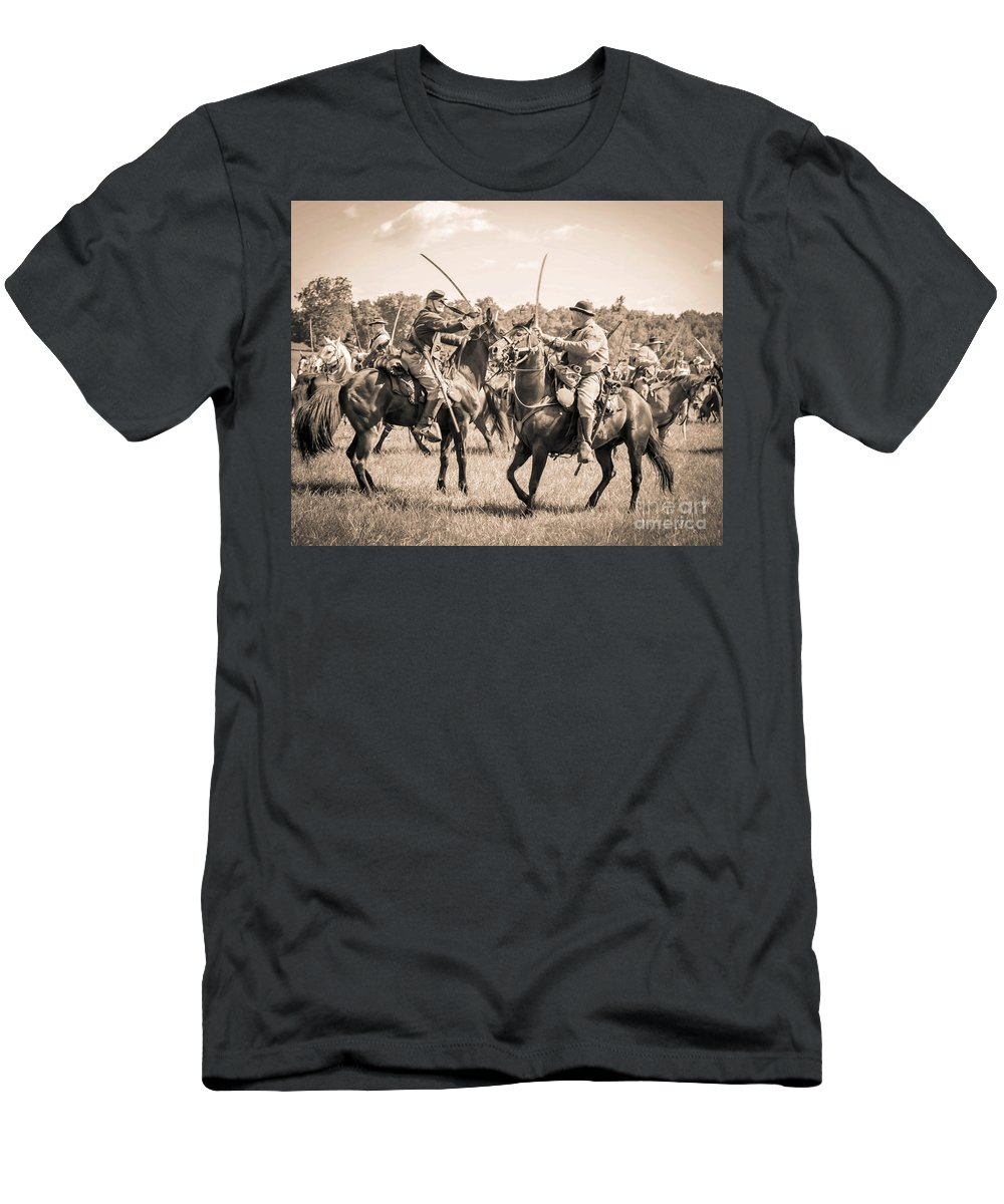 150th Men's T-Shirt (Athletic Fit) featuring the photograph Gettysburg Cavalry Battle 7978s by Cynthia Staley