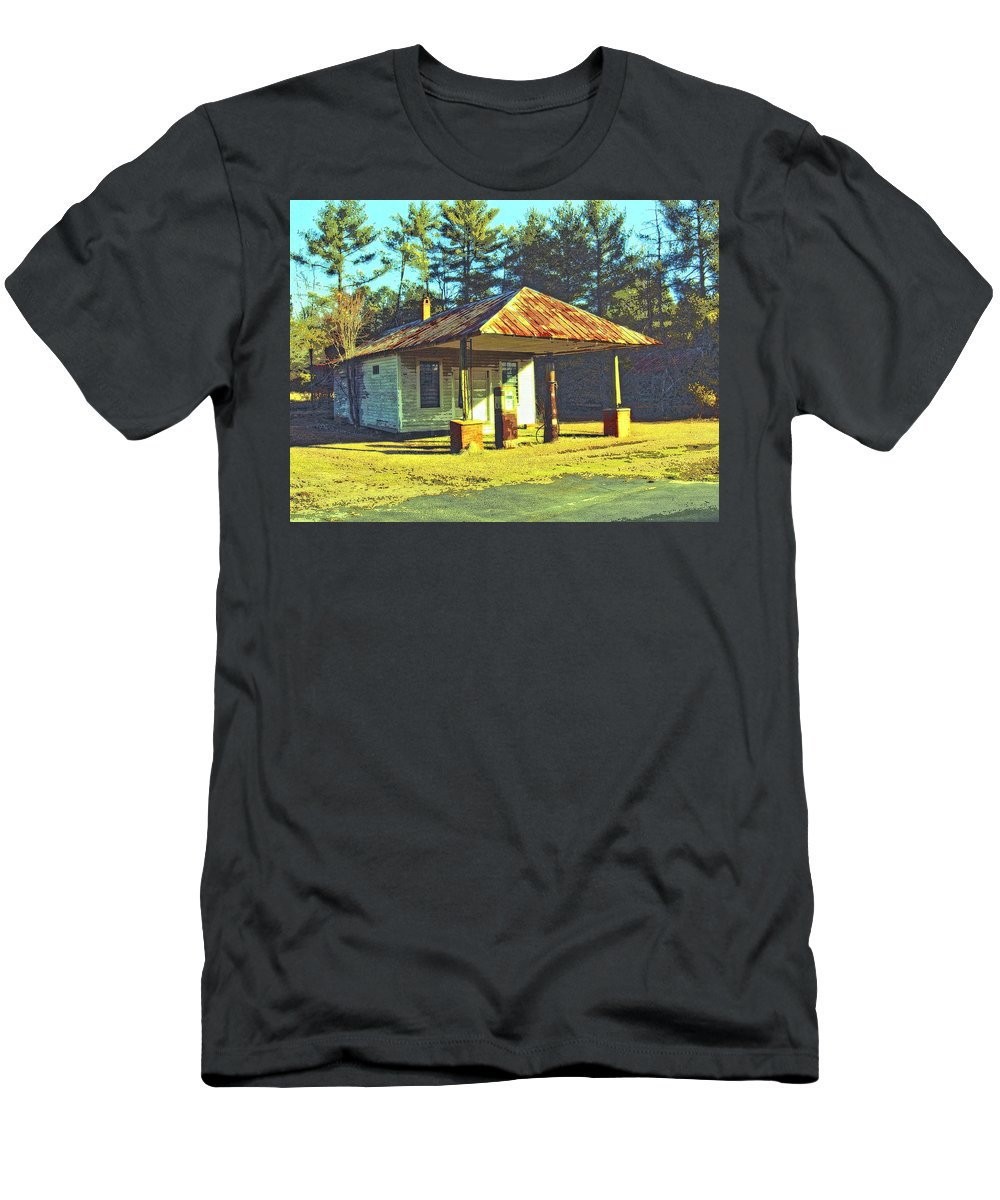 Old Gas Station Men's T-Shirt (Athletic Fit) featuring the mixed media Gil's Gasorama by Dominic Piperata