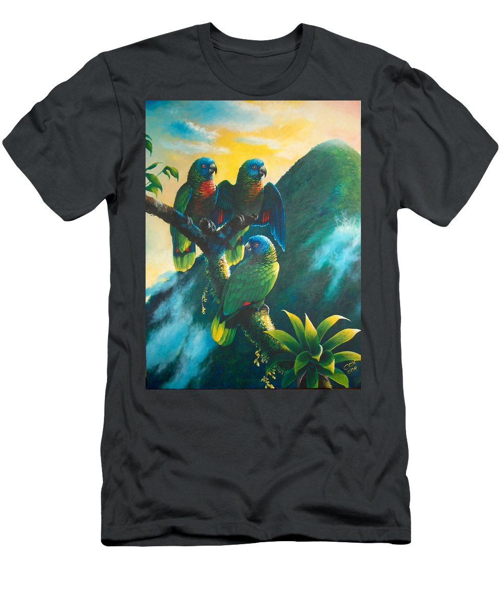 Chris Cox Men's T-Shirt (Athletic Fit) featuring the painting Gimie Dawn 1 - St. Lucia Parrots by Christopher Cox