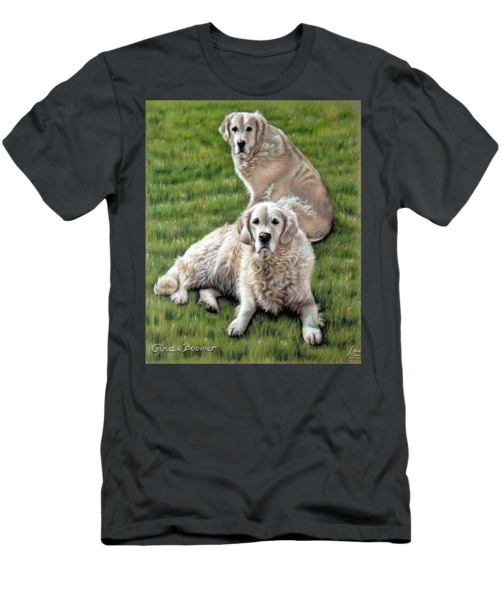 Dog Men's T-Shirt (Athletic Fit) featuring the pastel Gina And Boomer by Nicole Zeug