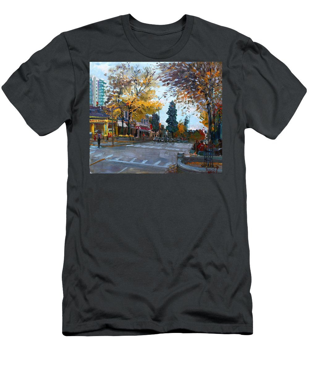 Men's T-Shirt (Athletic Fit) featuring the painting Gino S Pizza Lake Shore by Ylli Haruni