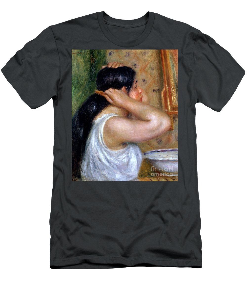 Girl Men's T-Shirt (Athletic Fit) featuring the painting Girl Combing Her Hair by Pierre Auguste Renoir